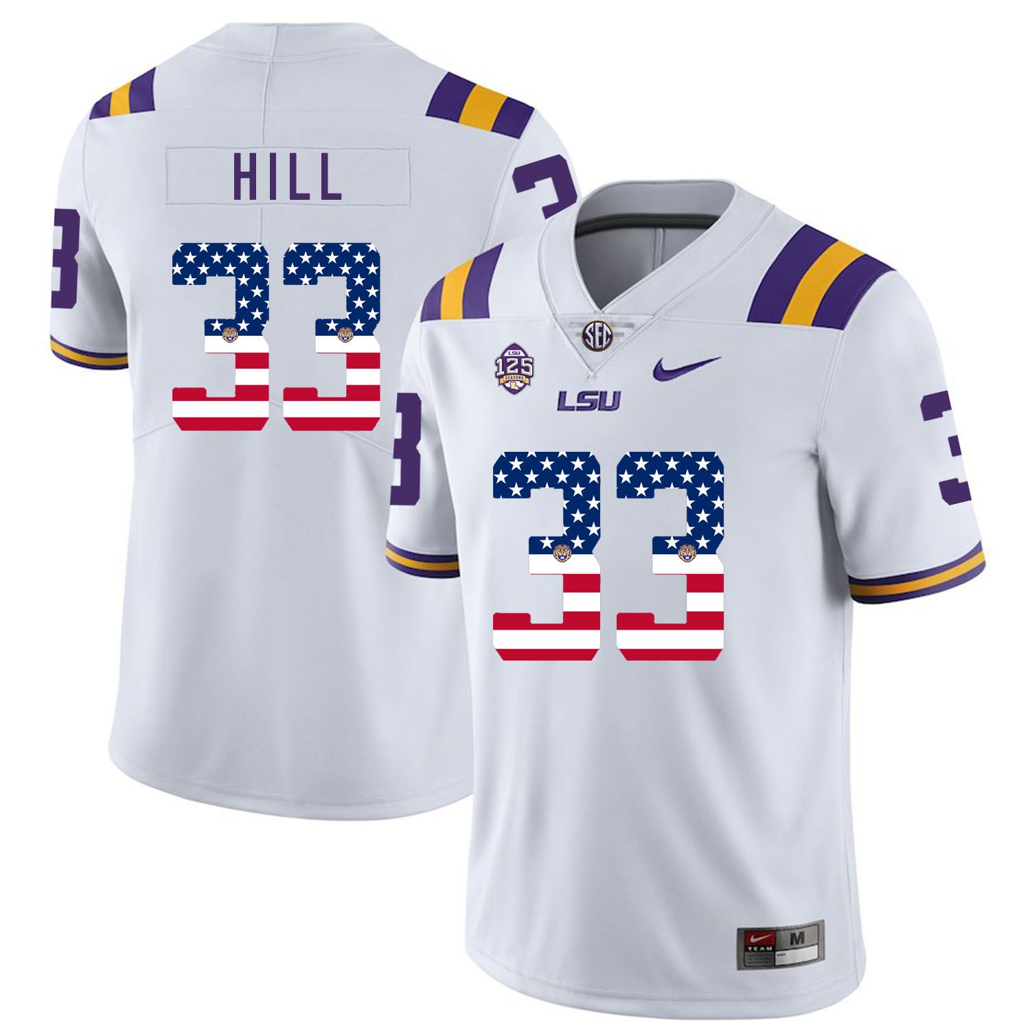 Men LSU Tigers 33 Hill White Flag Customized NCAA Jerseys