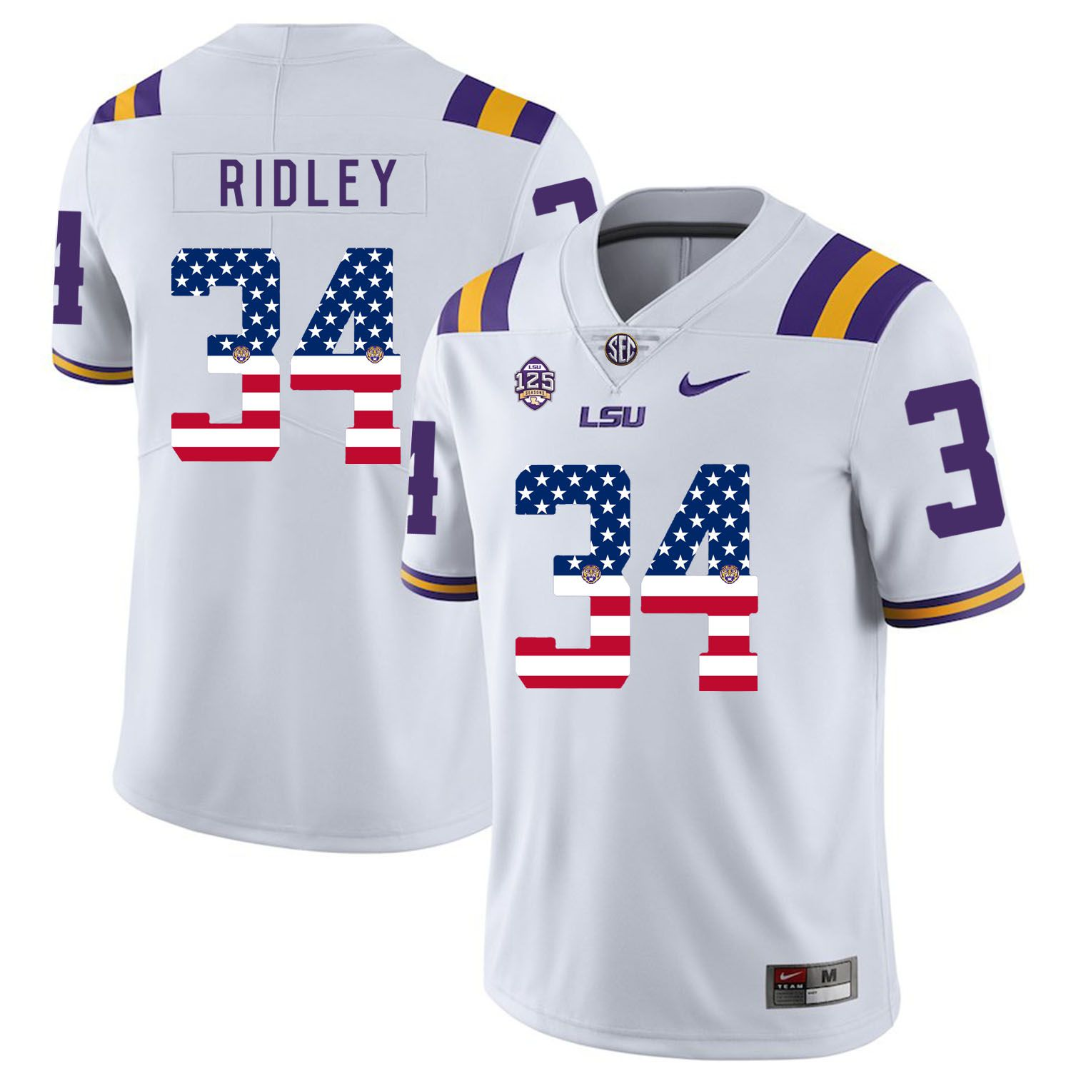 Men LSU Tigers 34 Ridley White Flag Customized NCAA Jerseys