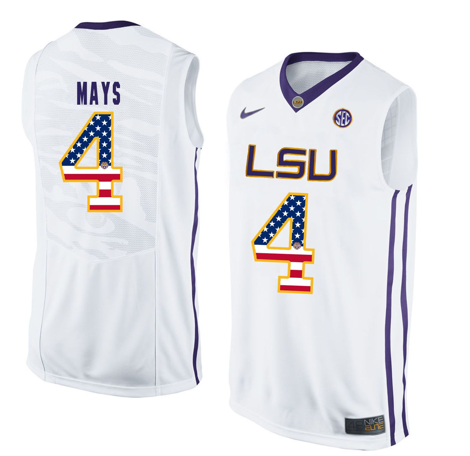 Men LSU Tigers 4 Mays White Flag Customized NCAA Jerseys
