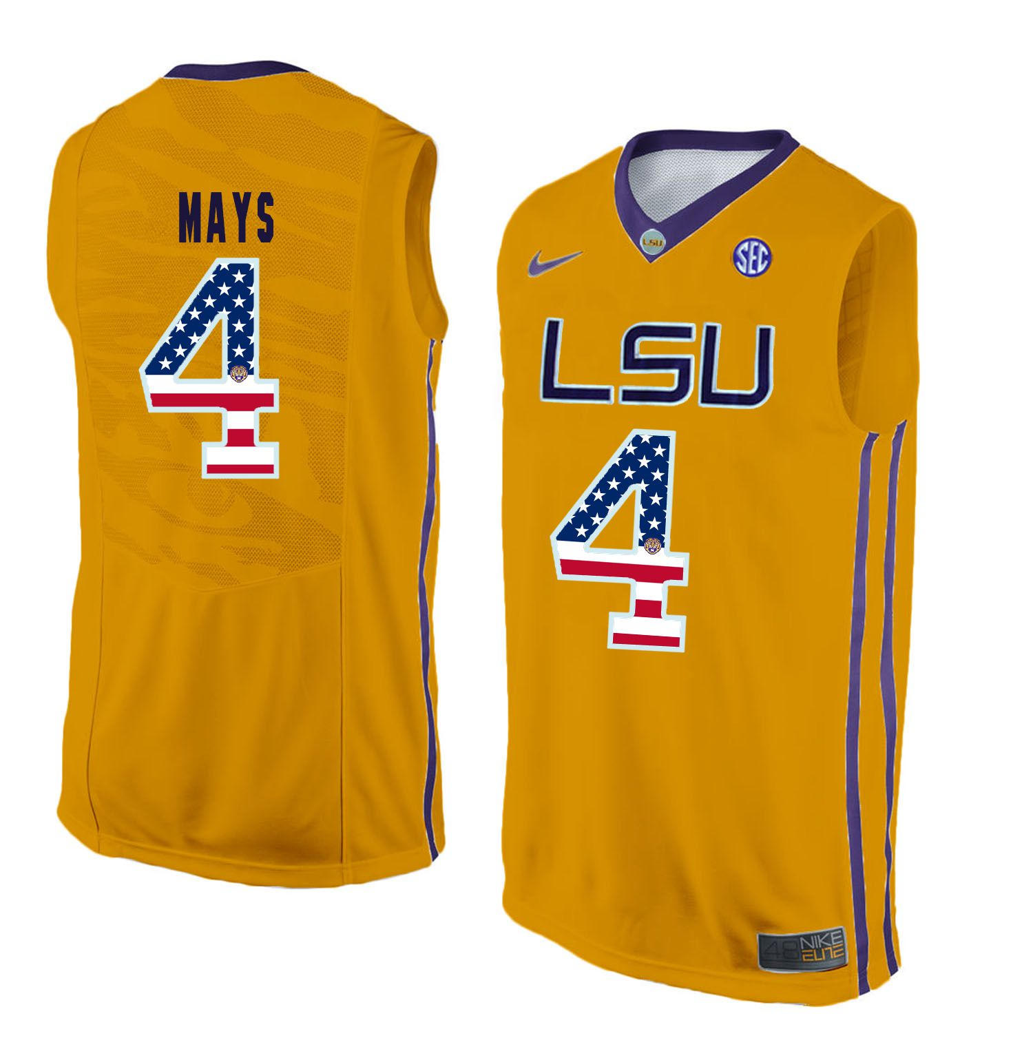 Men LSU Tigers 4 Mays Yellow Flag Customized NCAA Jerseys