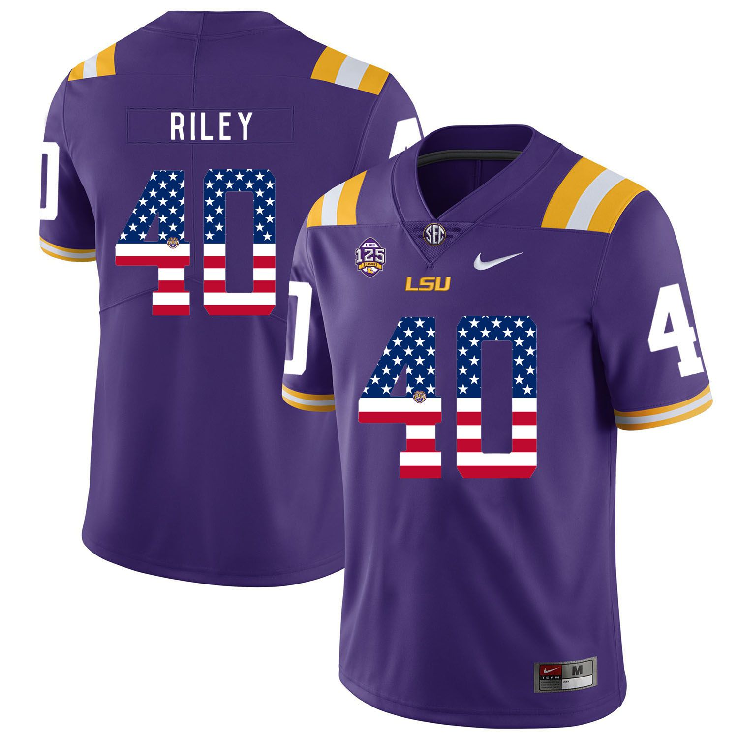 Men LSU Tigers 40 Riley Purple Flag Customized NCAA Jerseys