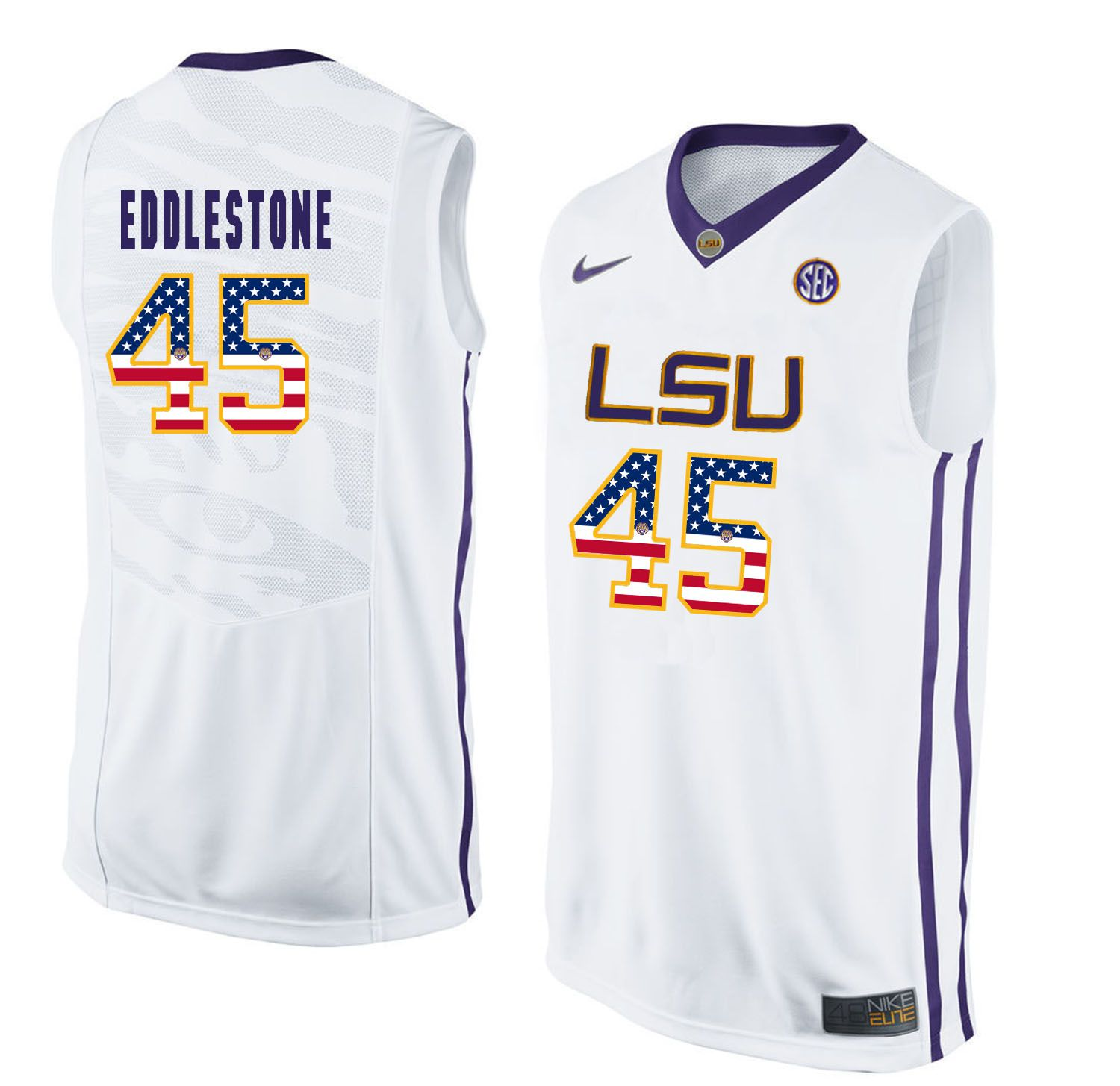 Men LSU Tigers 45 Eddlestone White Flag Customized NCAA Jerseys