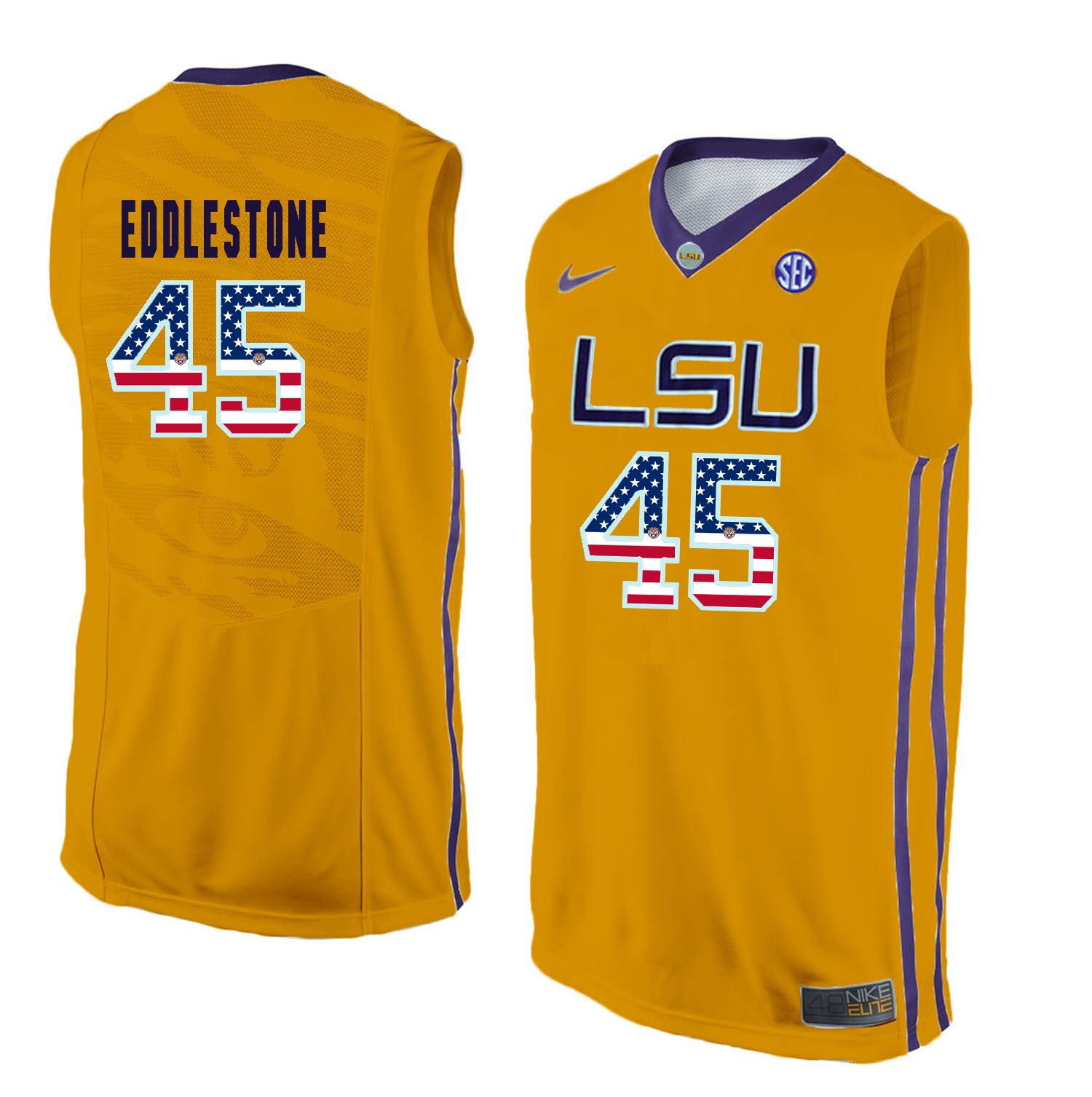 Men LSU Tigers 45 Eddlestone Yellow Flag Customized NCAA Jerseys