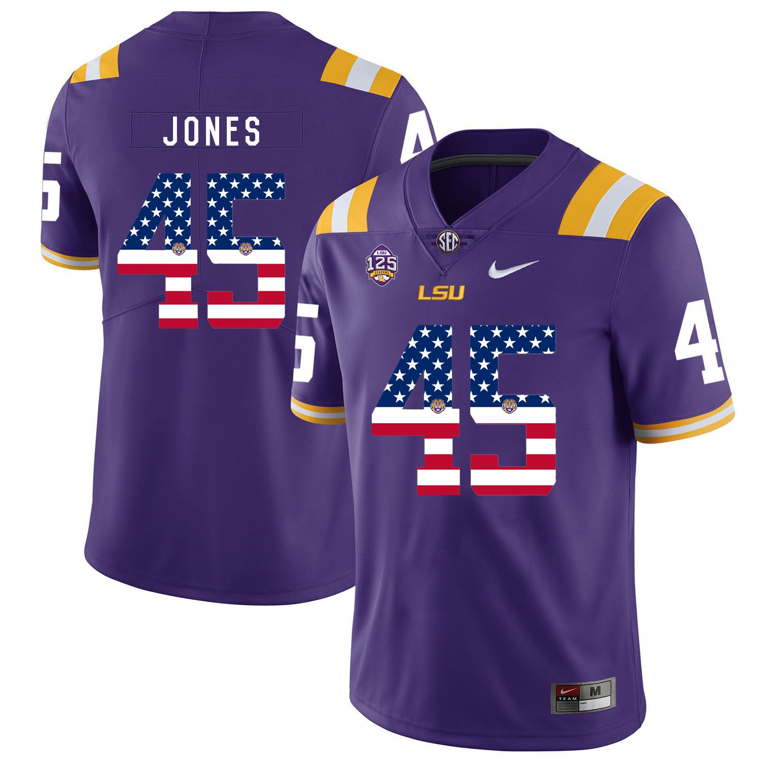 Men LSU Tigers 45 Jones Purple Flag Customized NCAA Jerseys