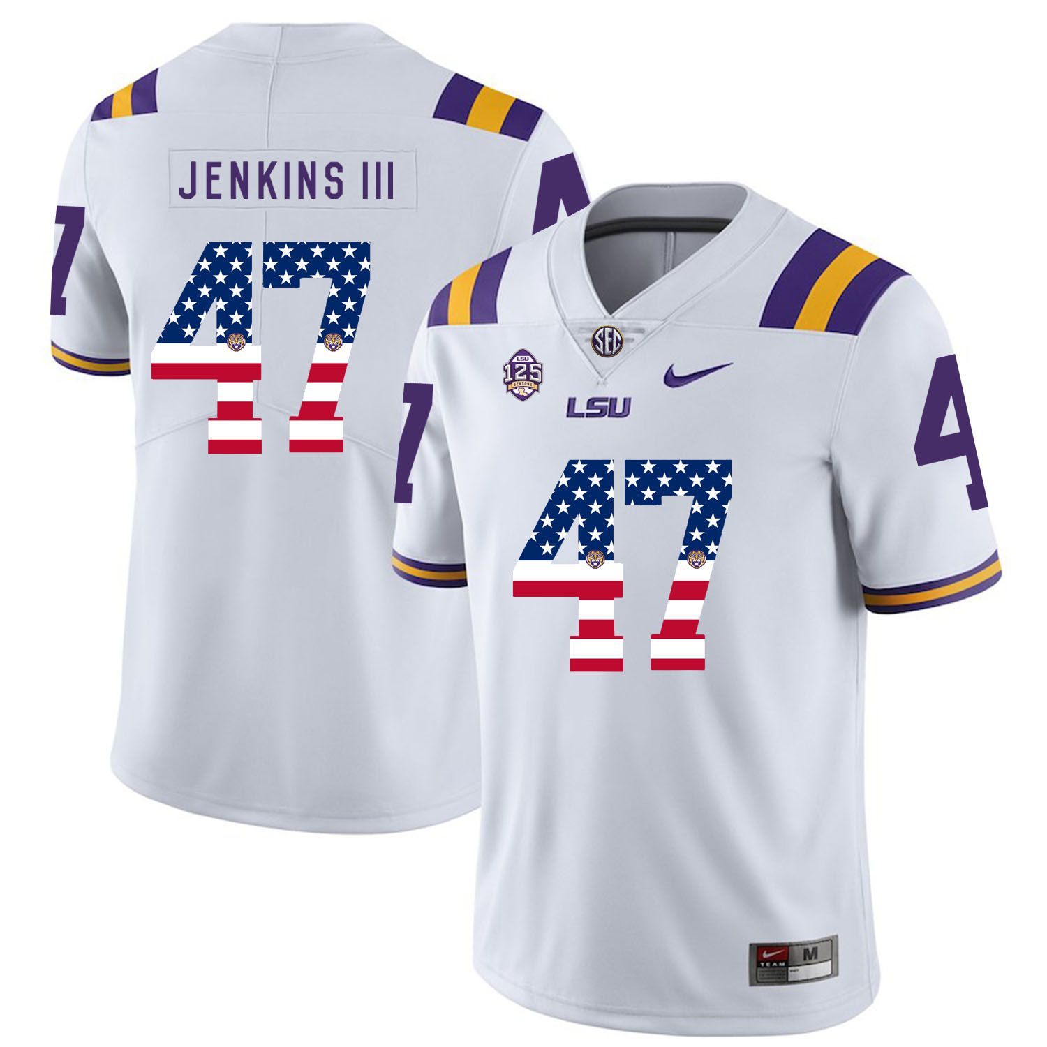 Men LSU Tigers 47 Jenkins iii White Flag Customized NCAA Jerseys