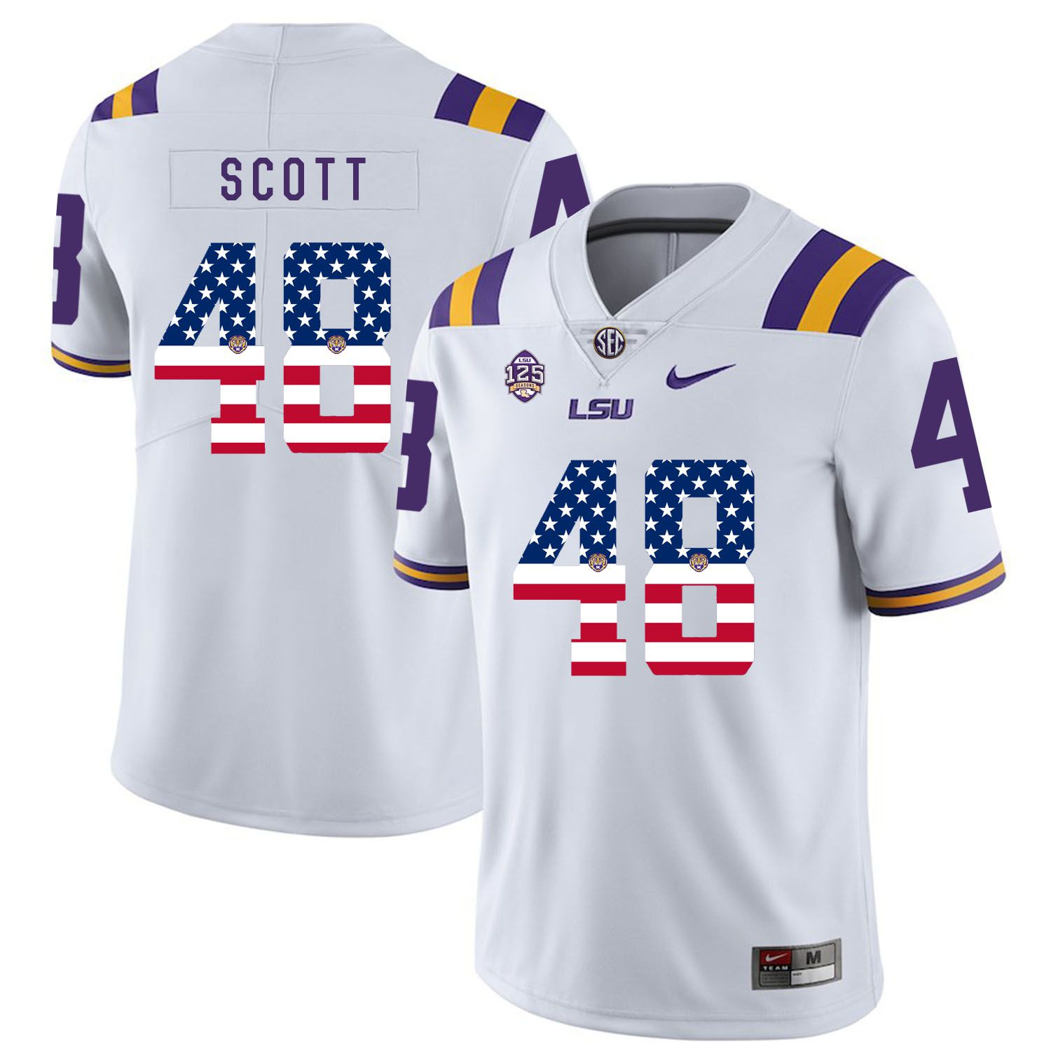 Men LSU Tigers 48 Scott White Flag Customized NCAA Jerseys