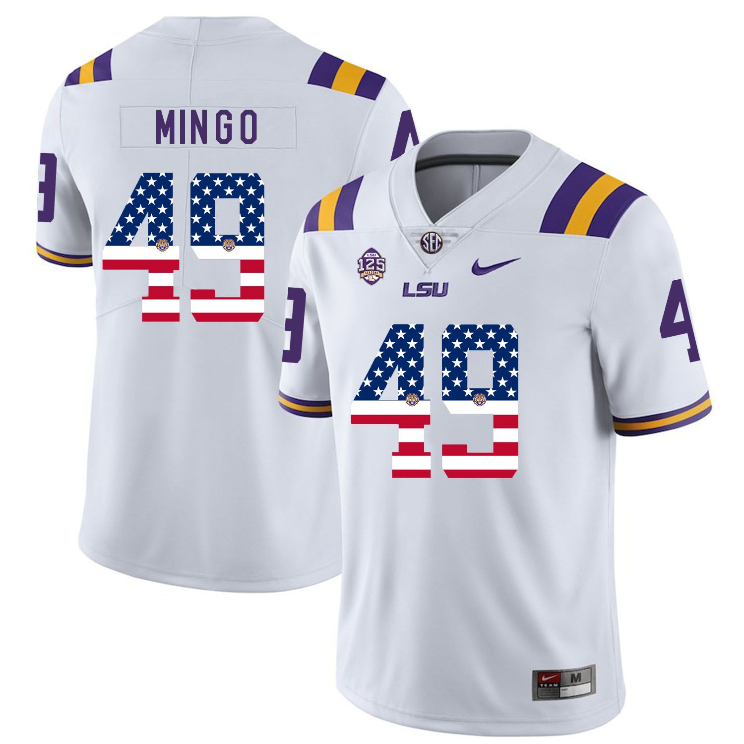 Men LSU Tigers 49 Mingo White Flag Customized NCAA Jerseys