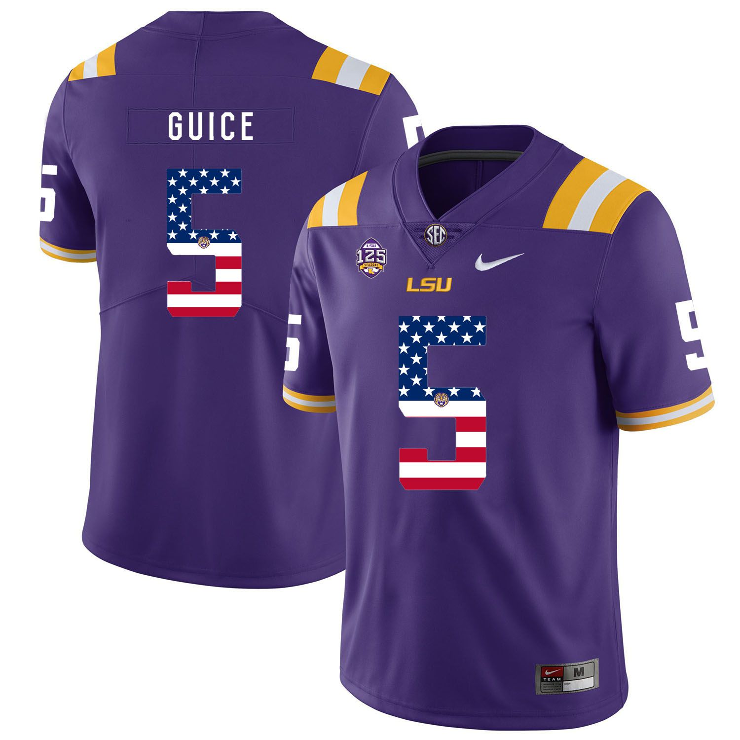 Men LSU Tigers 5 Guice Purple Flag Customized NCAA Jerseys