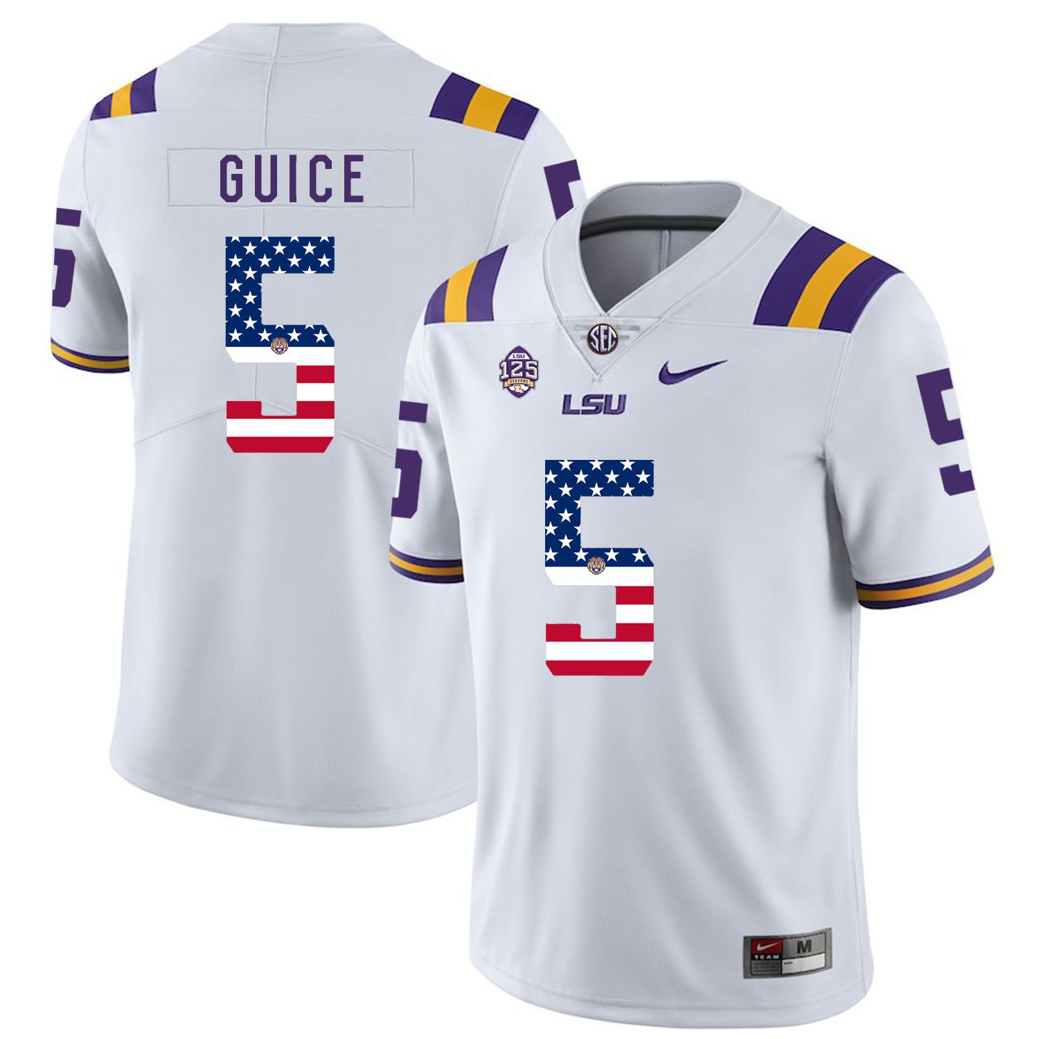 Men LSU Tigers 5 Guice White Flag Customized NCAA Jerseys