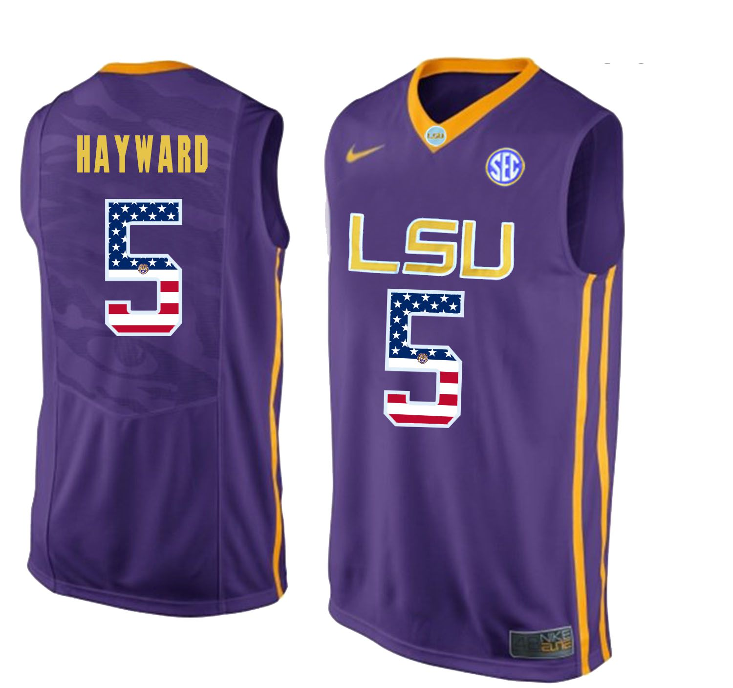 Men LSU Tigers 5 Hayward Purple Flag Customized NCAA Jerseys