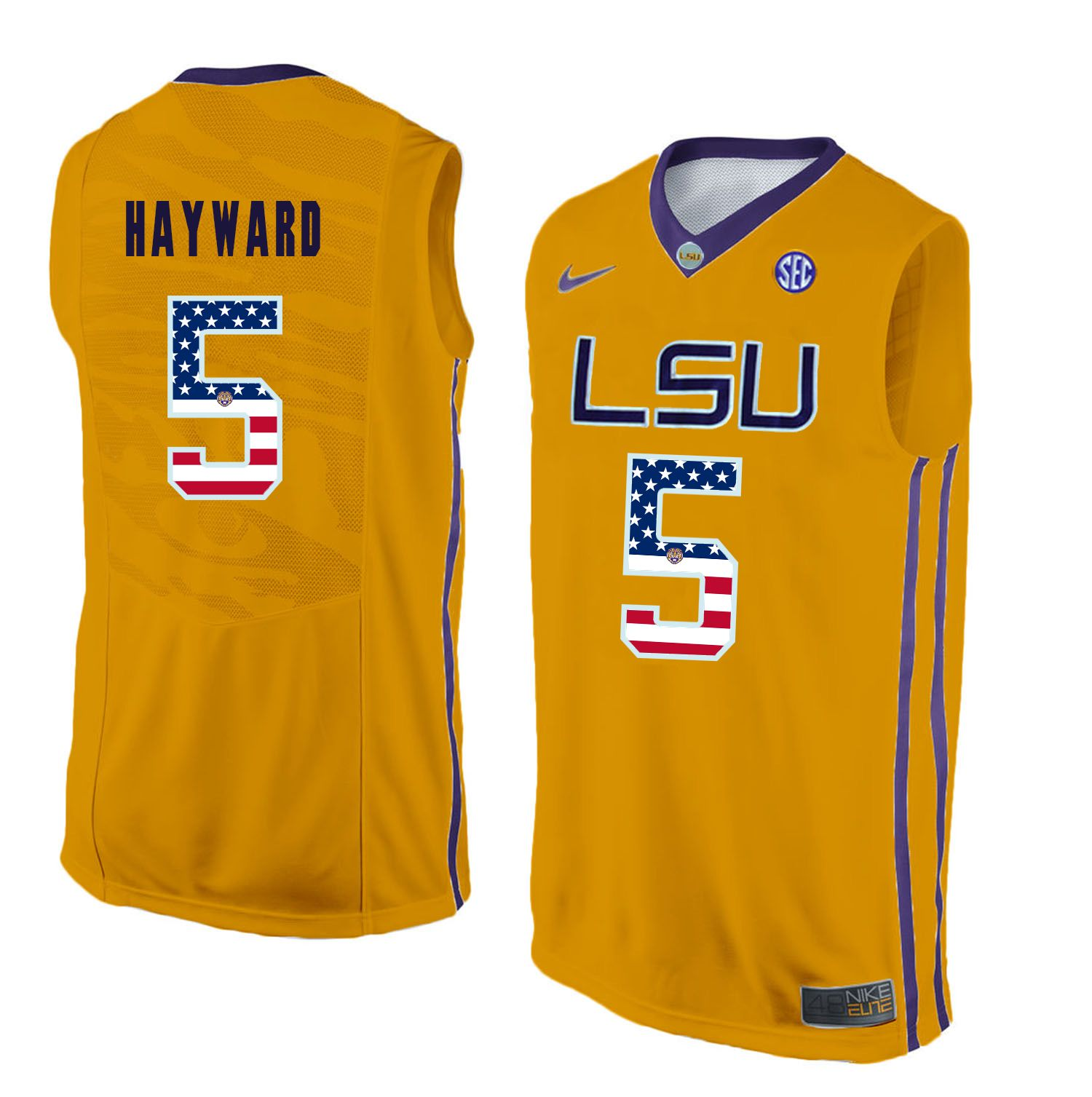 Men LSU Tigers 5 Hayward Yellow Flag Customized NCAA Jerseys