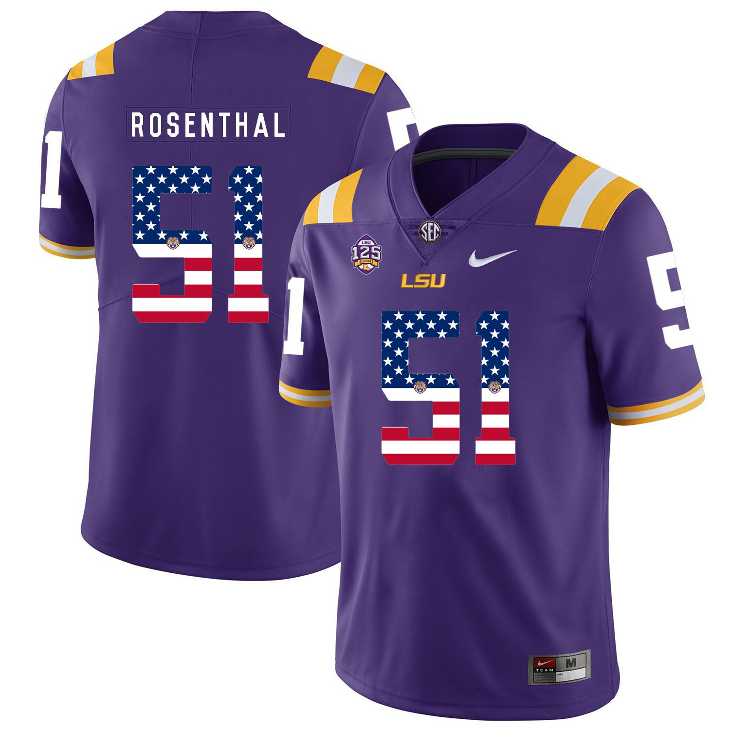 Men LSU Tigers 51 Rosenthal Purple Flag Customized NCAA Jerseys