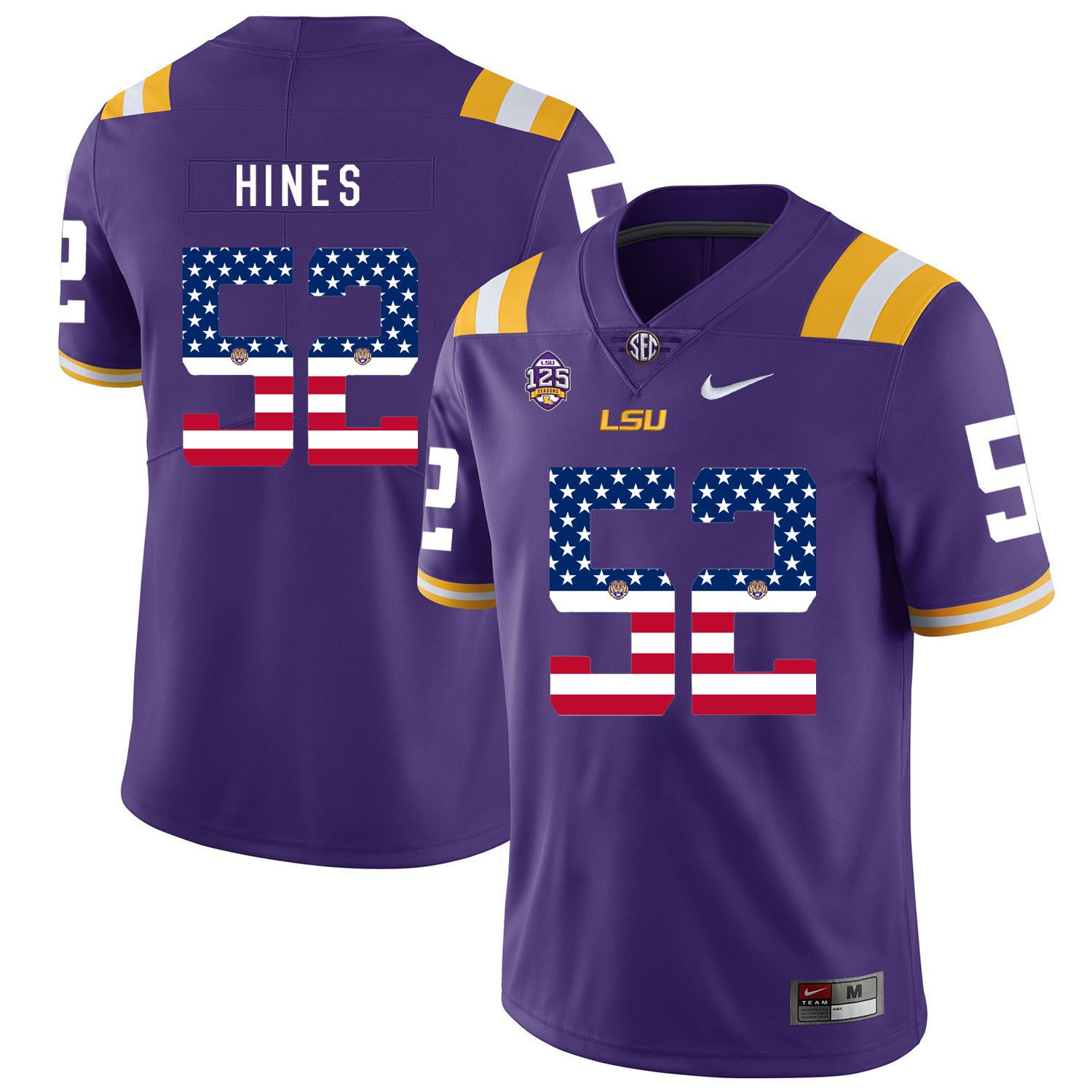 Men LSU Tigers 52 Hines Purple Flag Customized NCAA Jerseys