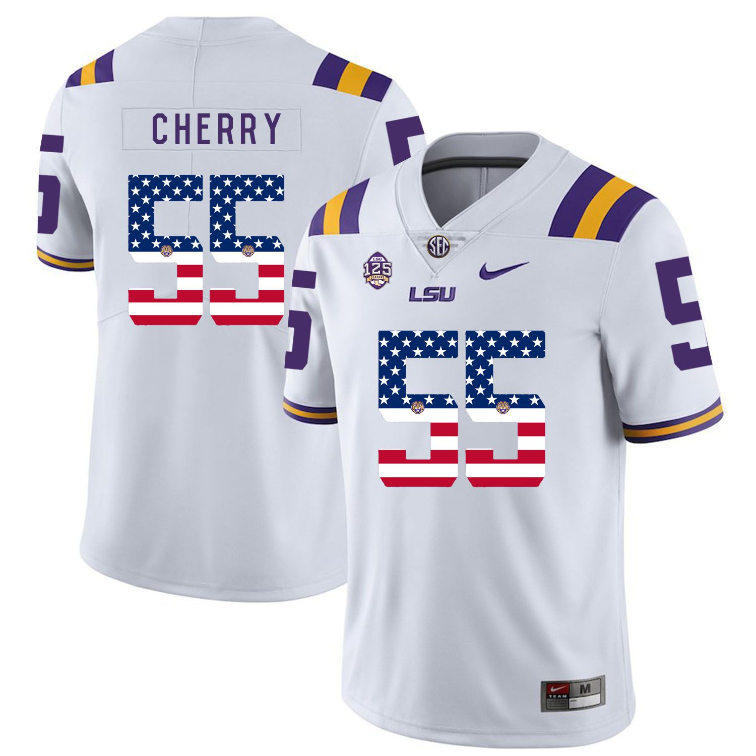 Men LSU Tigers 55 Cherry White Flag Customized NCAA Jerseys