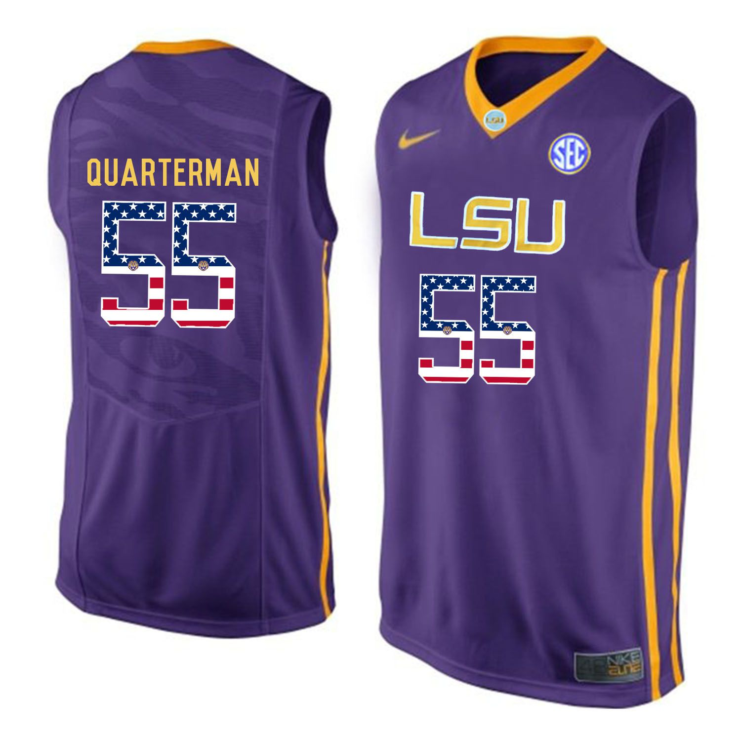 Men LSU Tigers 55 Quarterman Purple Flag Customized NCAA Jerseys