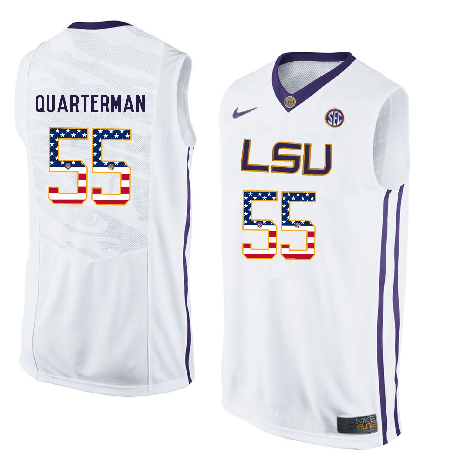 Men LSU Tigers 55 Quarterman White Flag Customized NCAA Jerseys