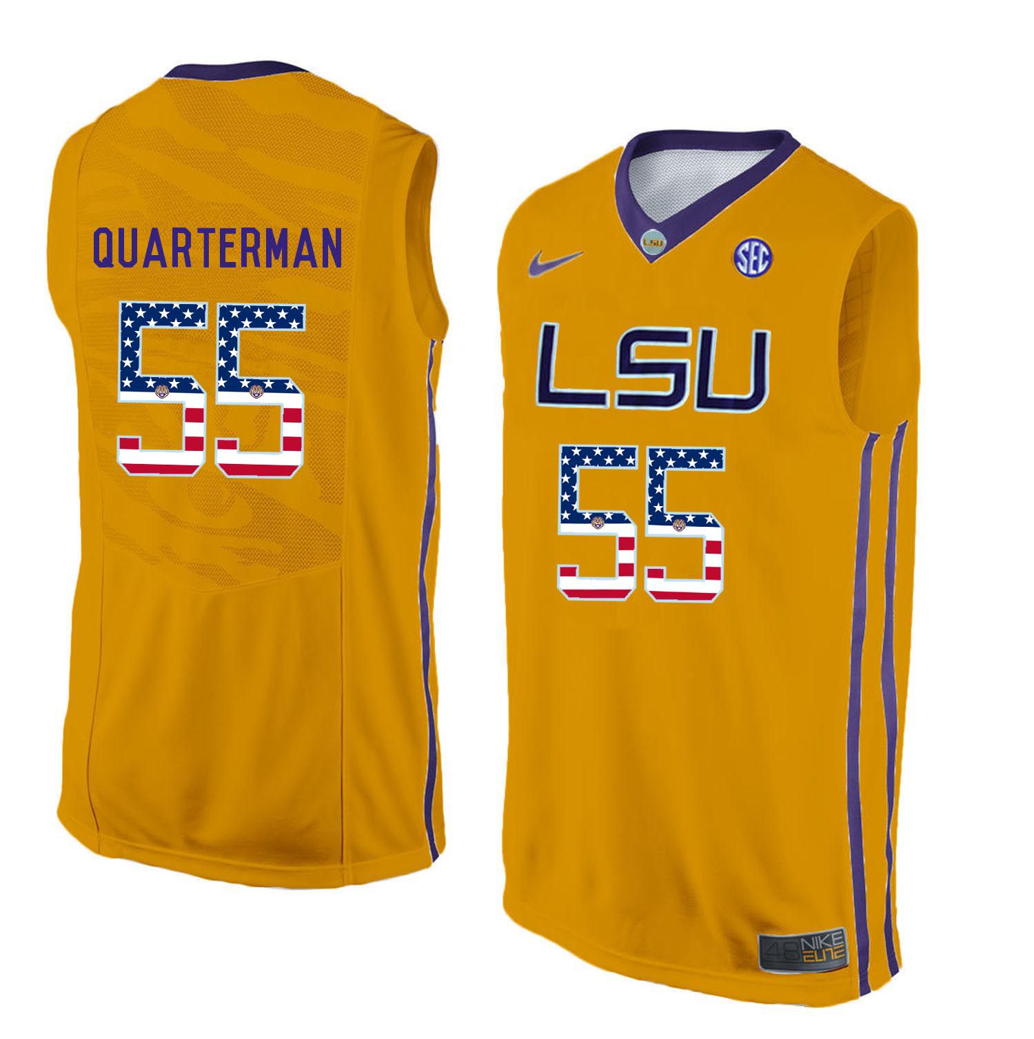 Men LSU Tigers 55 Quarterman Yellow Flag Customized NCAA Jerseys