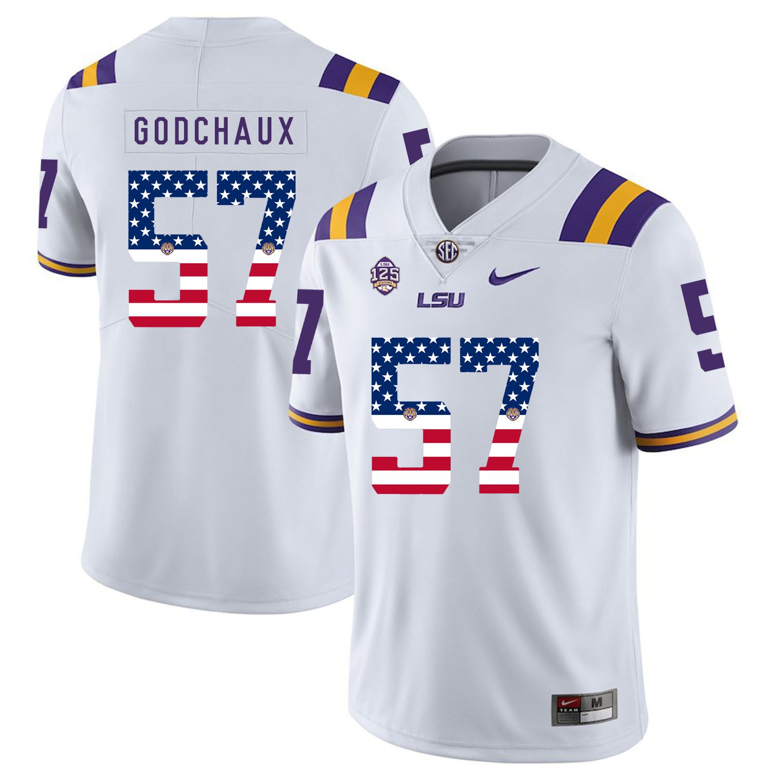 Men LSU Tigers 57 Godchaux White Flag Customized NCAA Jerseys