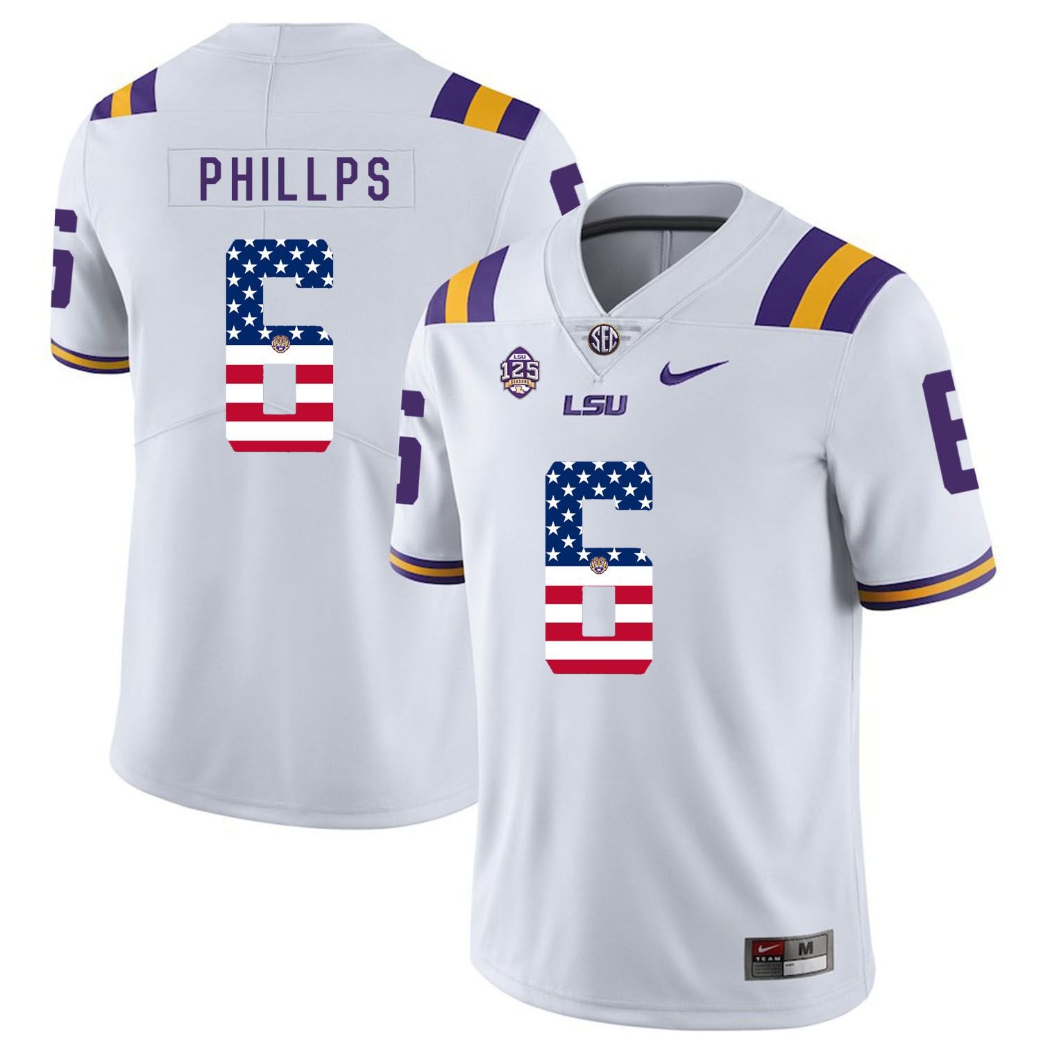 Men LSU Tigers 6 Phillps White Flag Customized NCAA Jerseys
