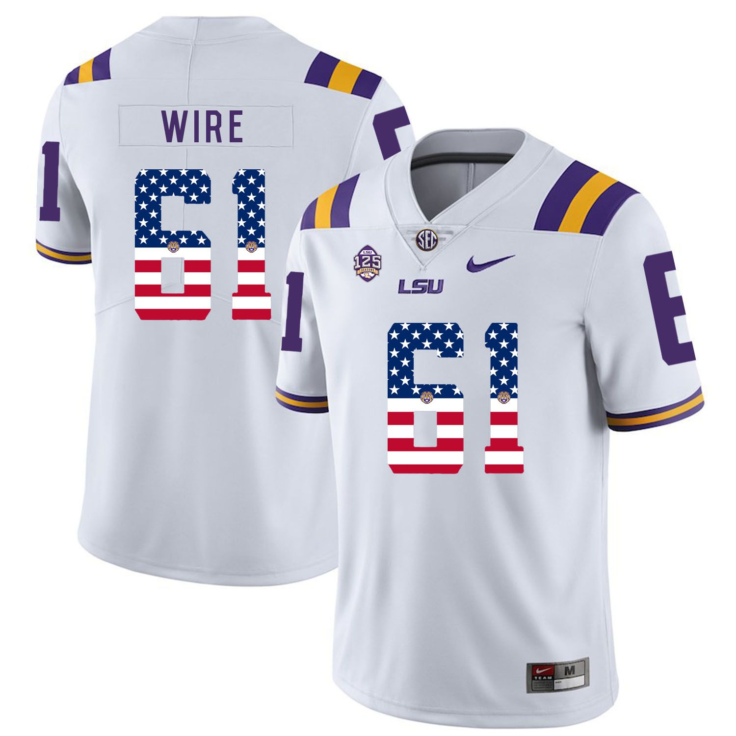 Men LSU Tigers 61 Wire White Flag Customized NCAA Jerseys
