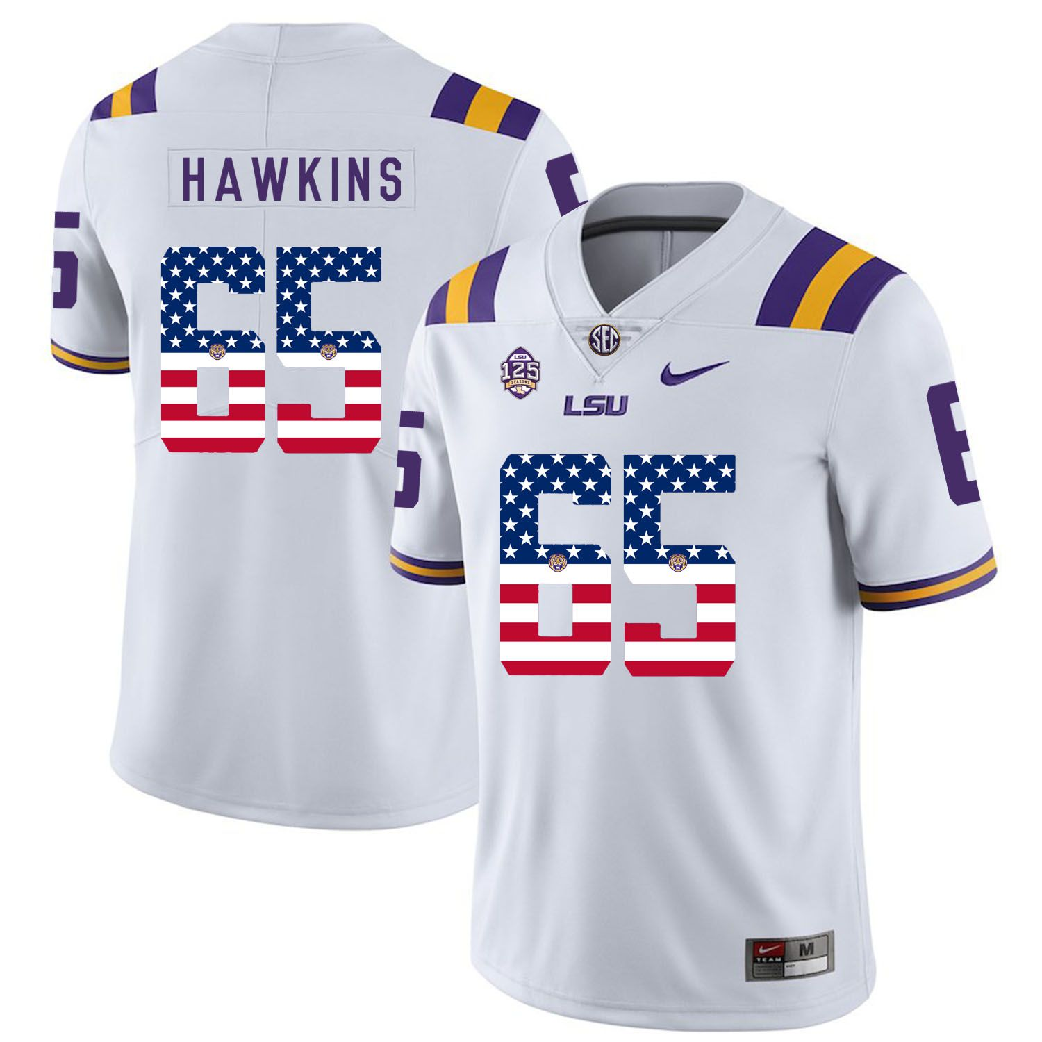 Men LSU Tigers 65 Hawkins White Flag Customized NCAA Jerseys