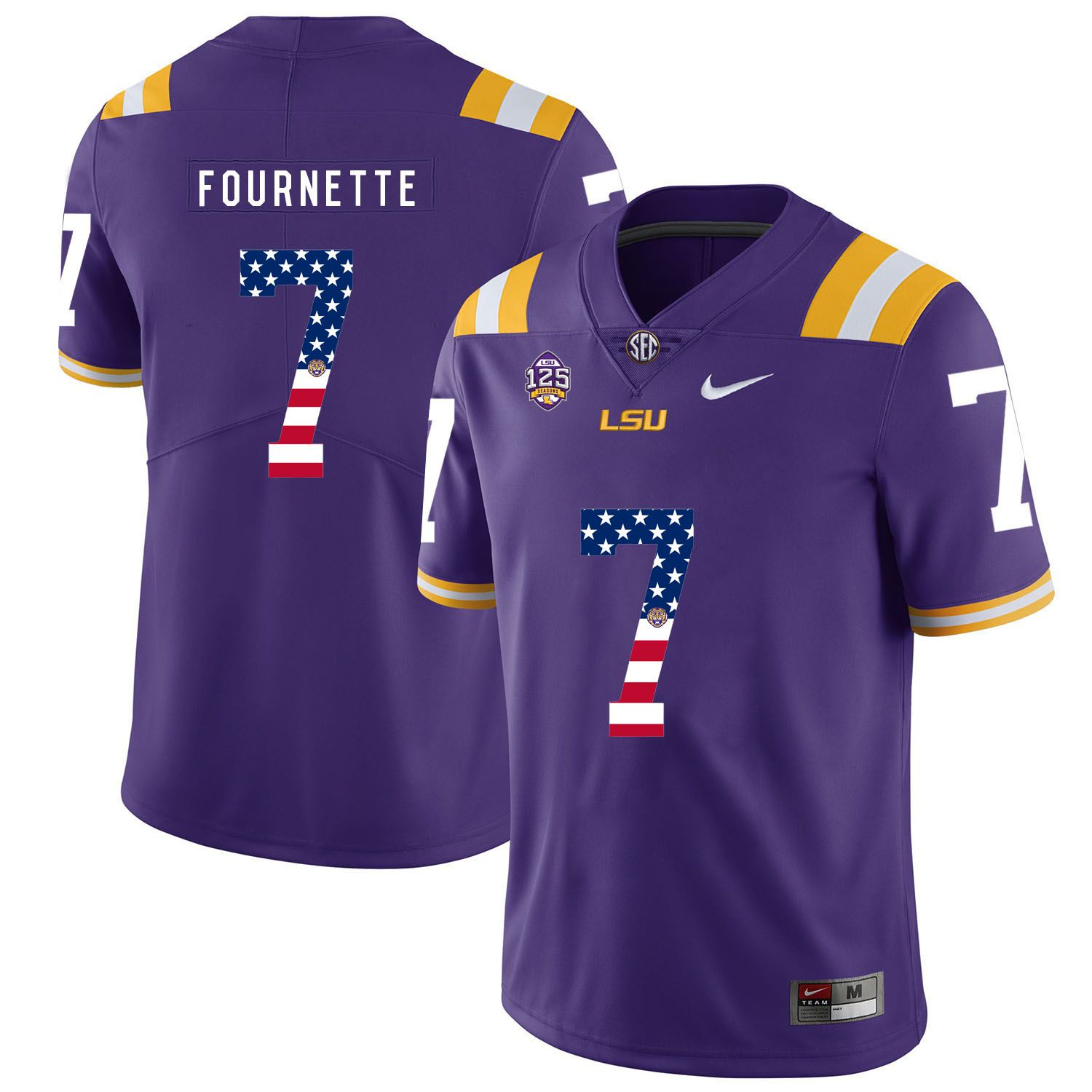 Men LSU Tigers 7 Fournette Purple Flag Customized NCAA Jerseys