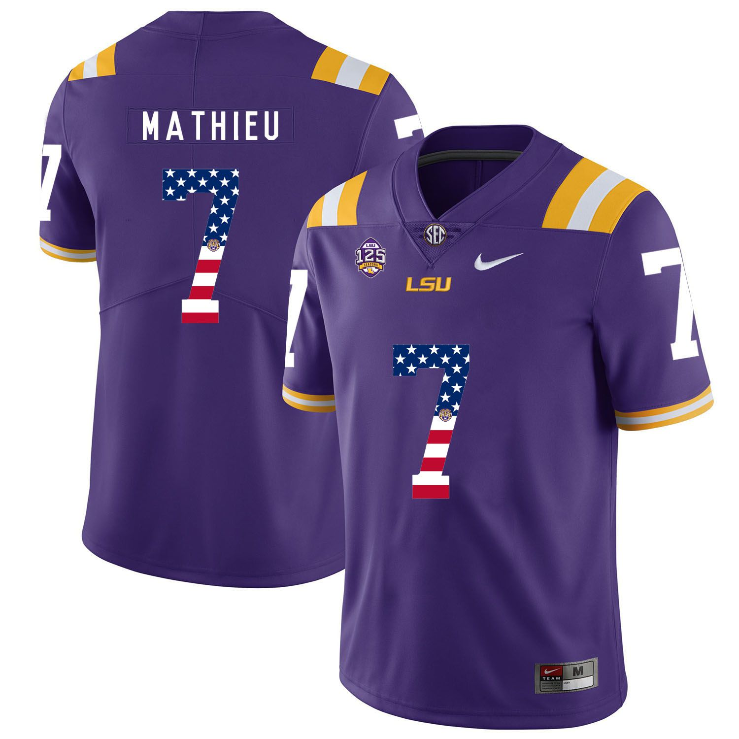 Men LSU Tigers 7 Mathieu Purple Flag Customized NCAA Jerseys