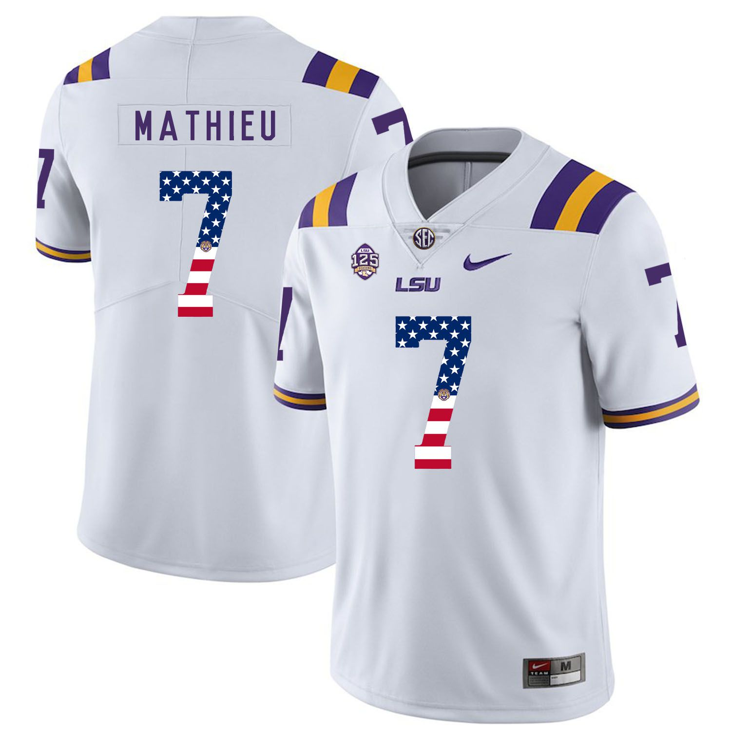 Men LSU Tigers 7 Mathieu White Flag Customized NCAA Jerseys