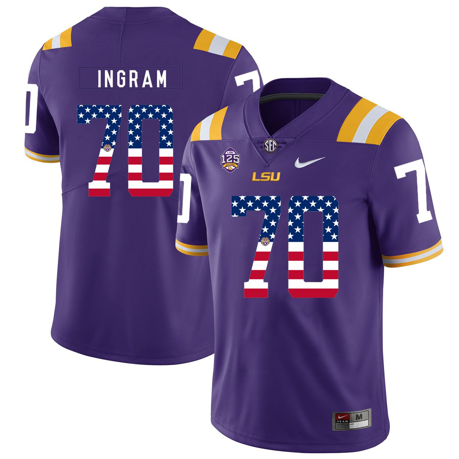 Men LSU Tigers 70 Ingram Purple Flag Customized NCAA Jerseys