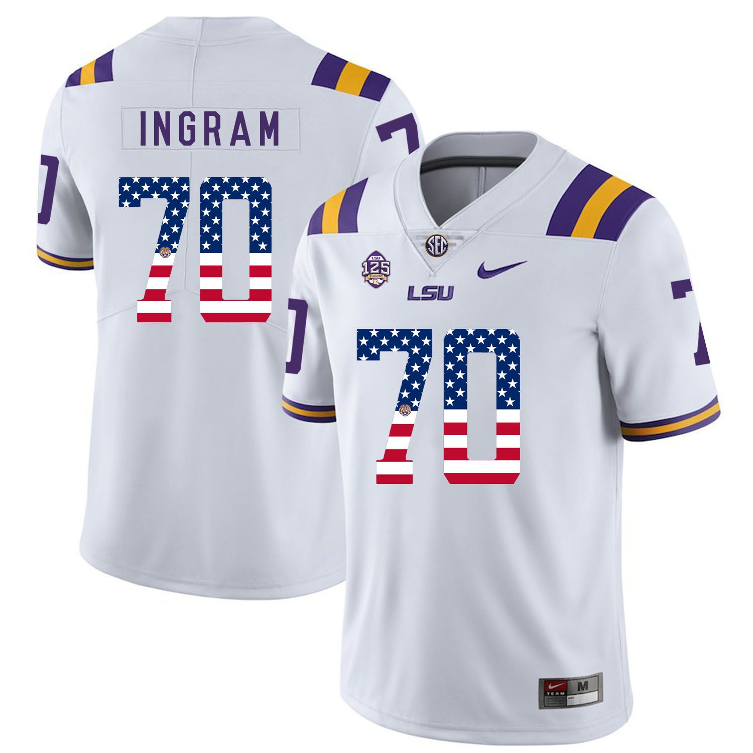 Men LSU Tigers 70 Ingram White Flag Customized NCAA Jerseys