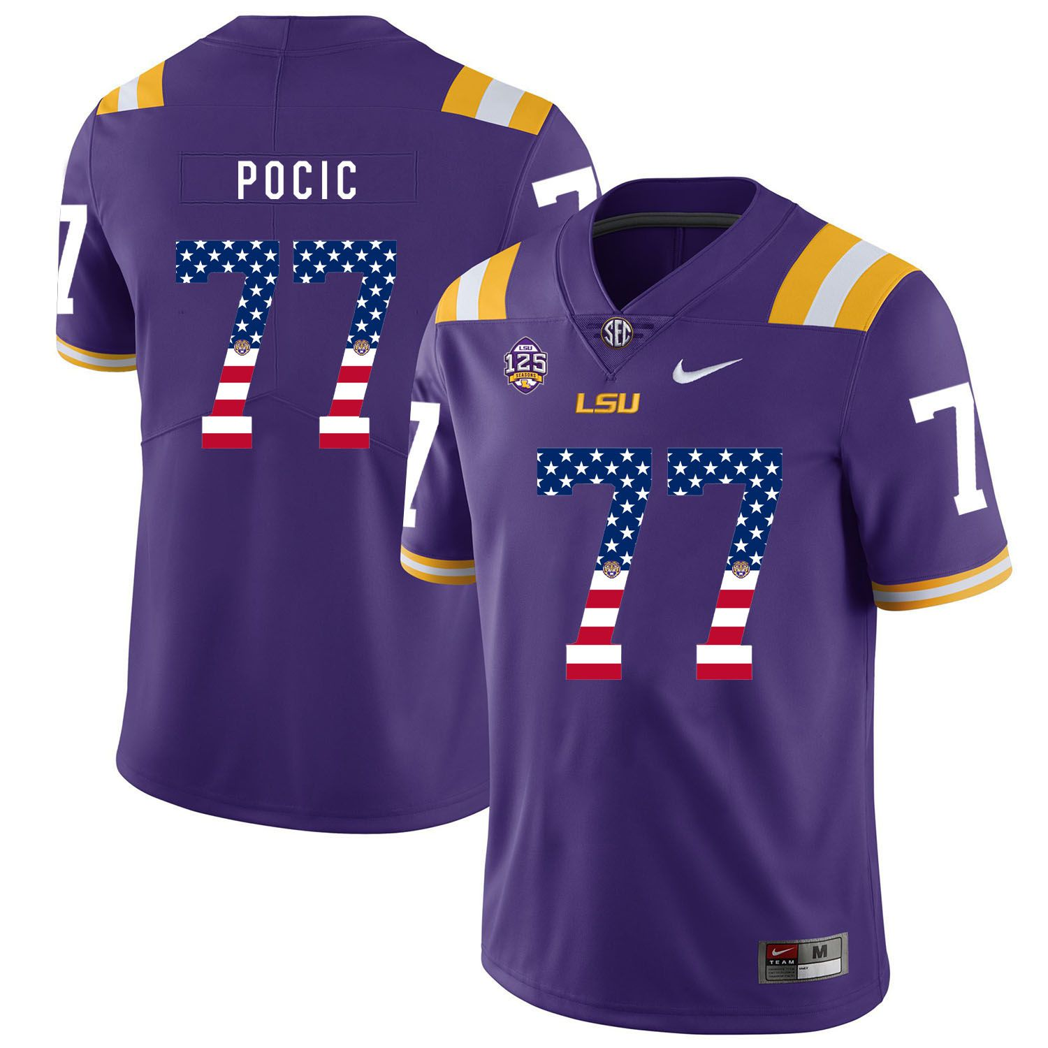 Men LSU Tigers 77 Pocic Purple Flag Customized NCAA Jerseys