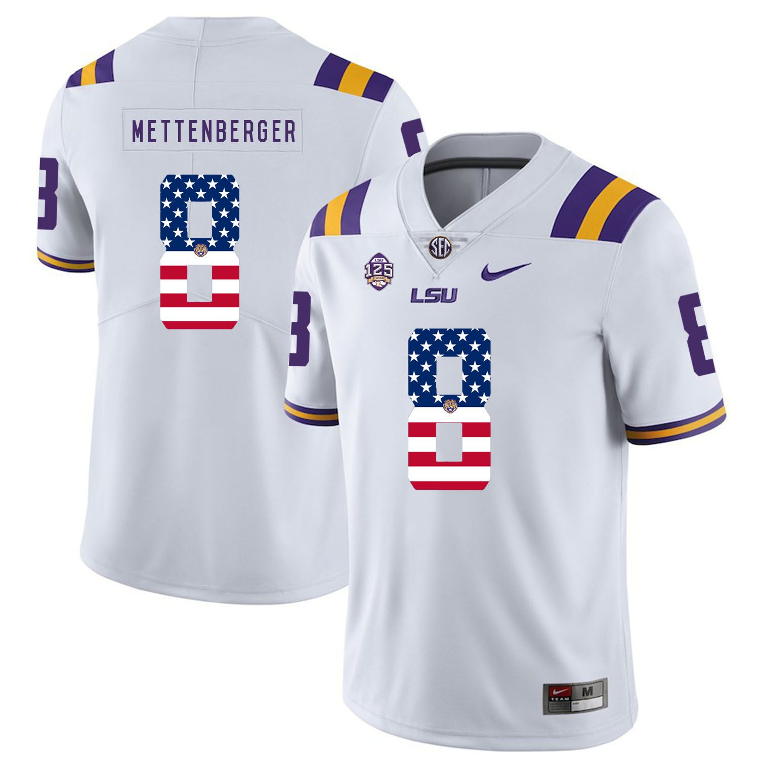 Men LSU Tigers 8 Mettenberger White Flag Customized NCAA Jerseys