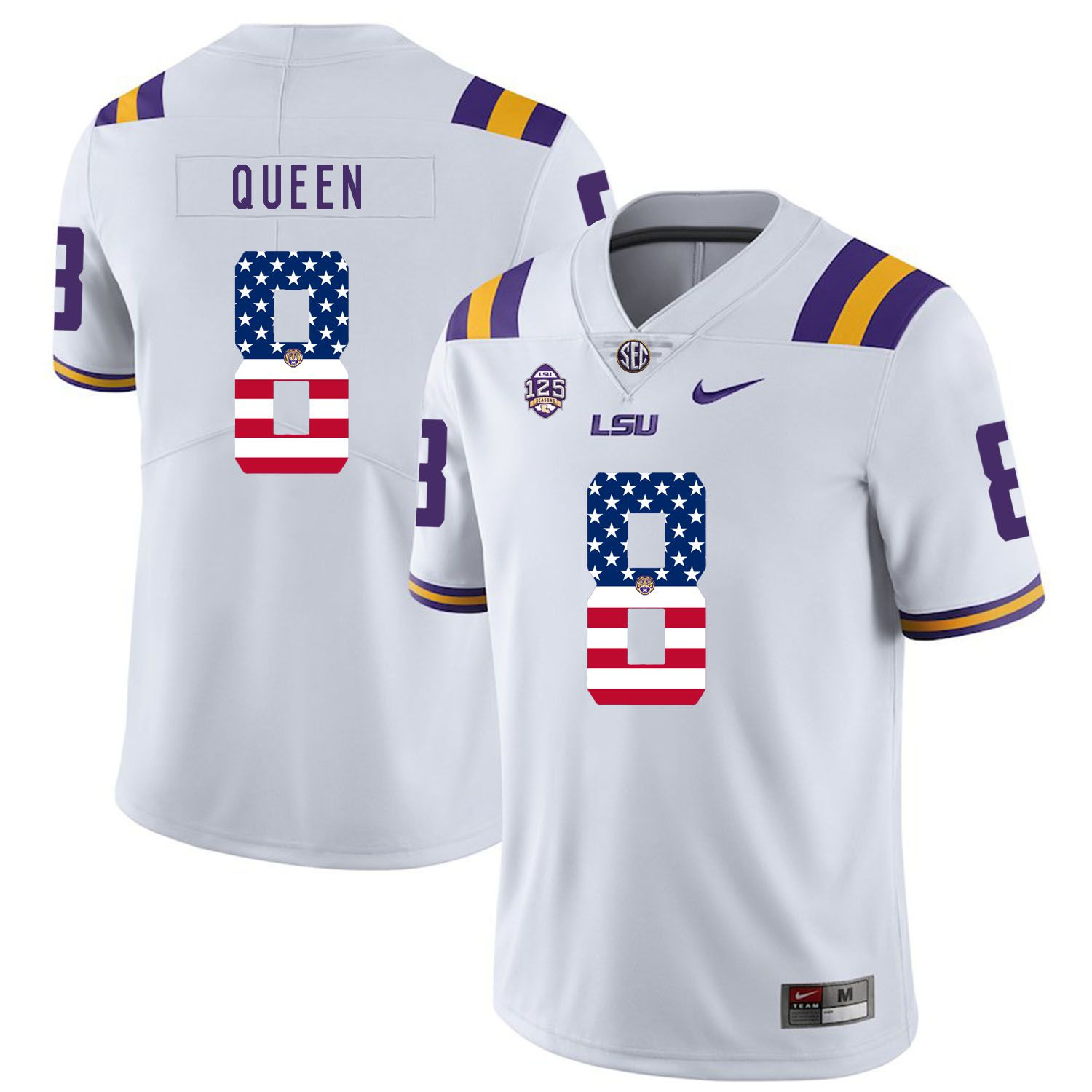 Men LSU Tigers 8 Queen White Flag Customized NCAA Jerseys