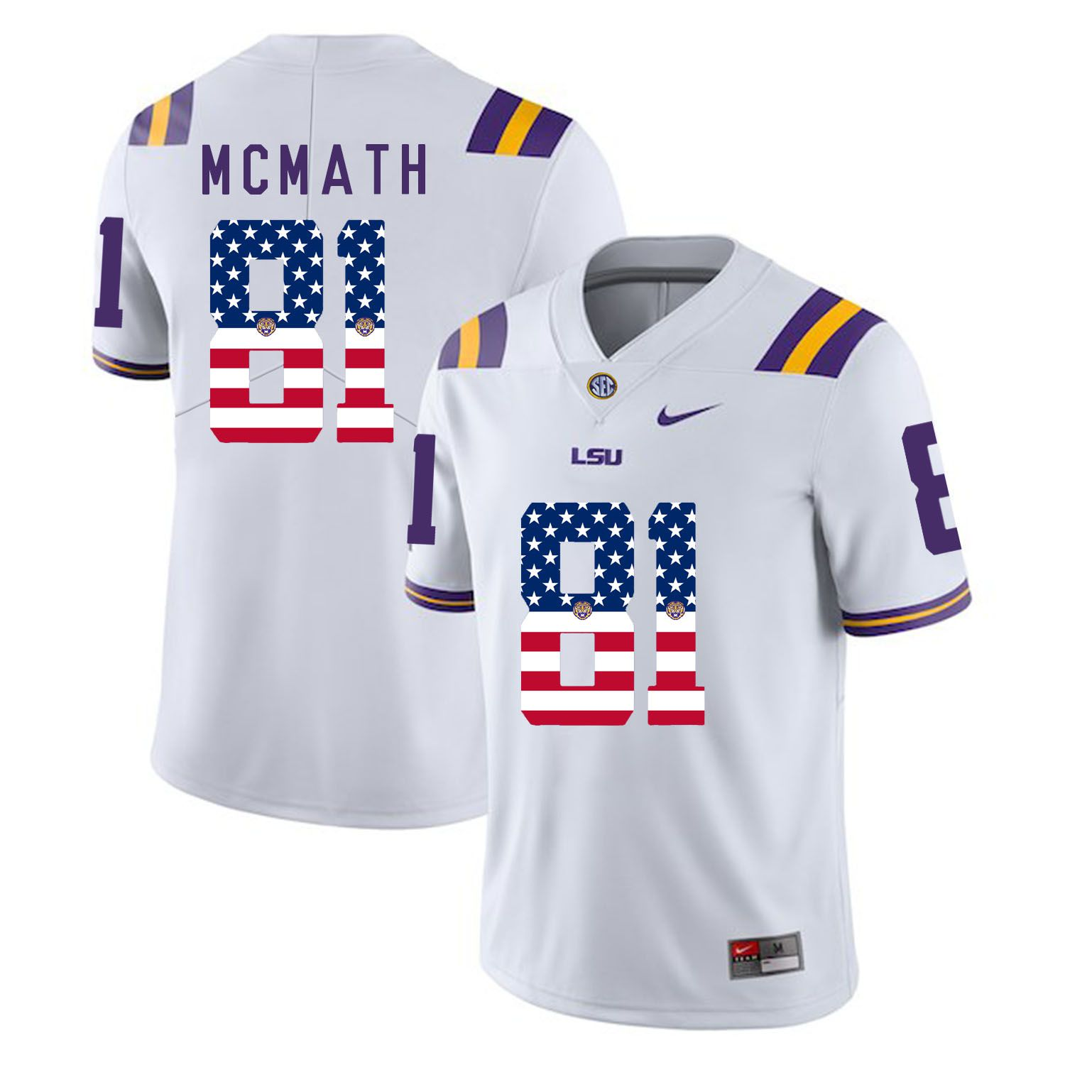 Men LSU Tigers 81 Mcmath White Flag Customized NCAA Jerseys