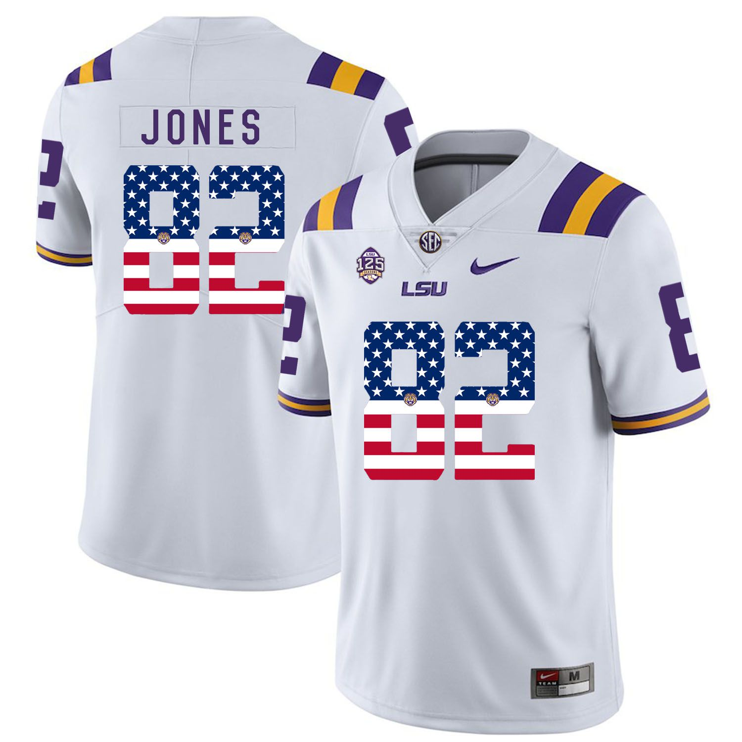 Men LSU Tigers 82 Jones White Flag Customized NCAA Jerseys