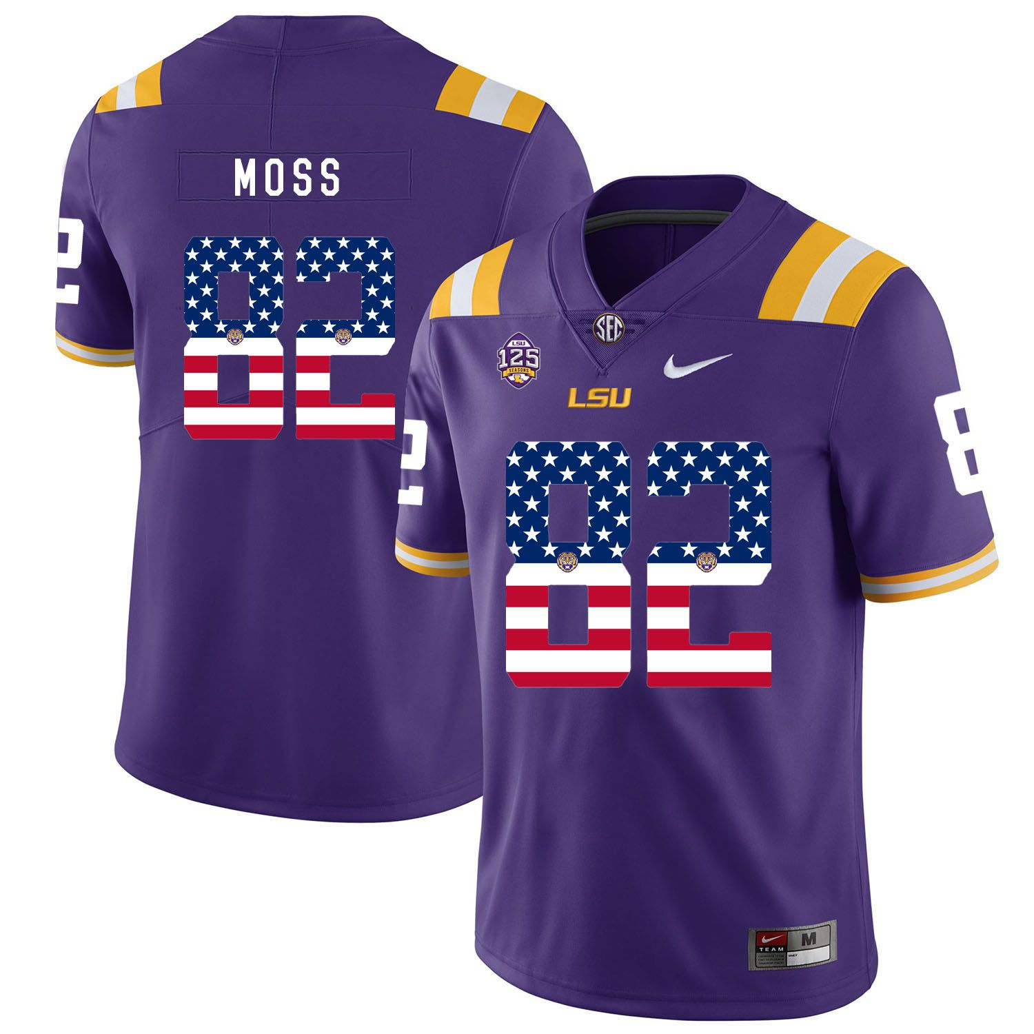 Men LSU Tigers 82 Moss Purple Flag Customized NCAA Jerseys