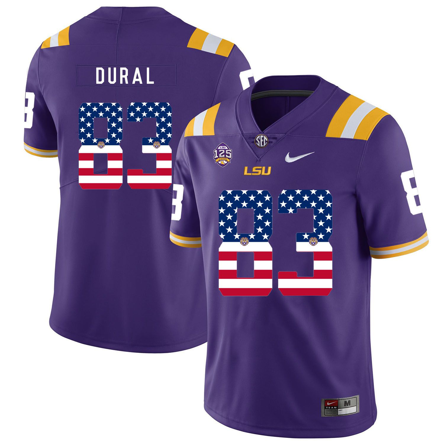 Men LSU Tigers 83 Dural Purple Flag Customized NCAA Jerseys