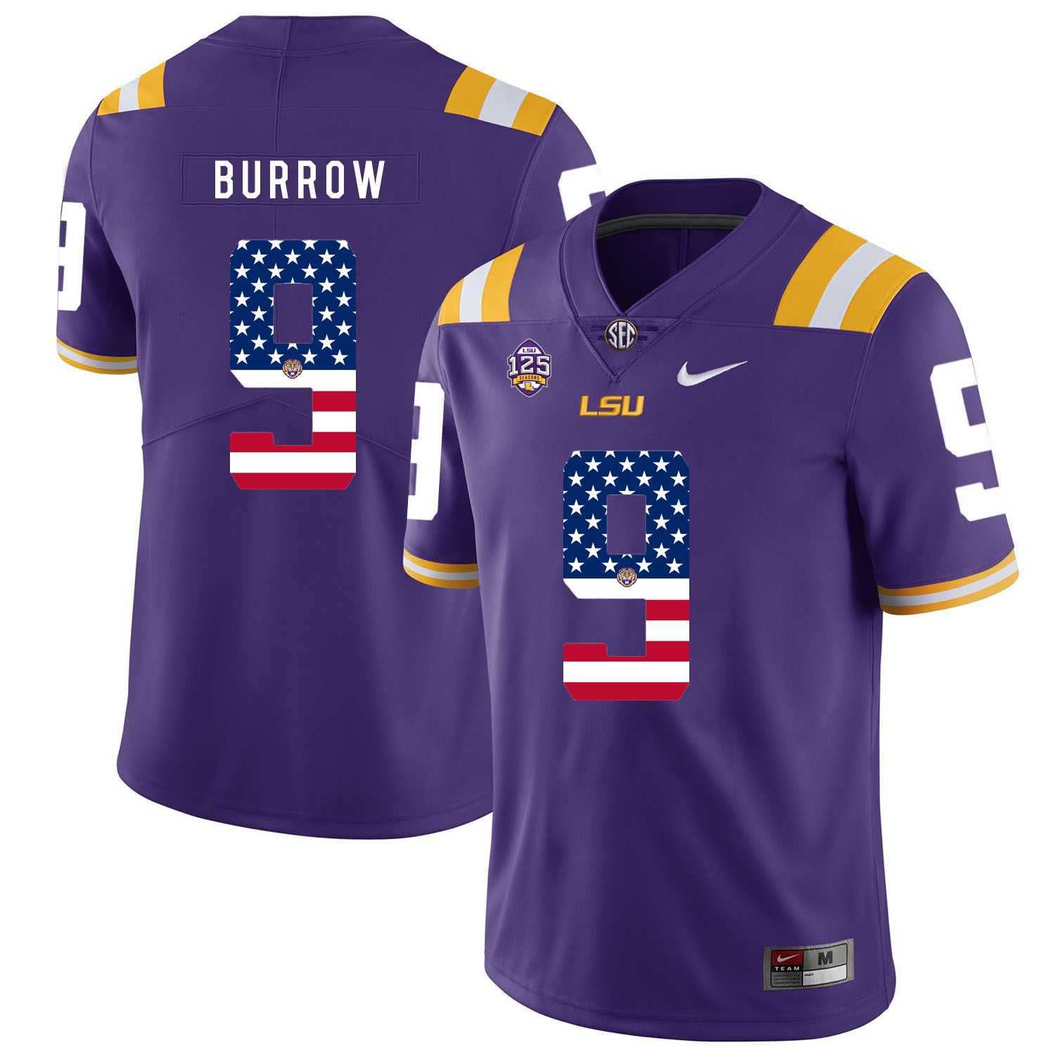 Men LSU Tigers 9 Burrow Purple Flag Customized NCAA Jerseys