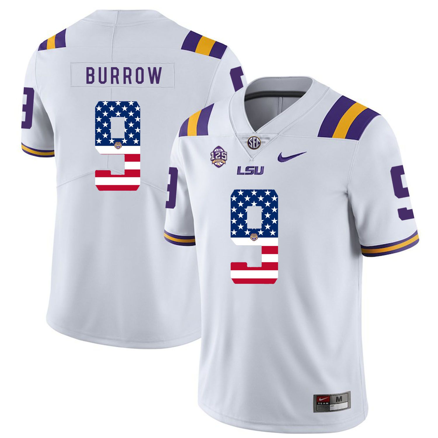 Men LSU Tigers 9 Burrow White Flag Customized NCAA Jerseys