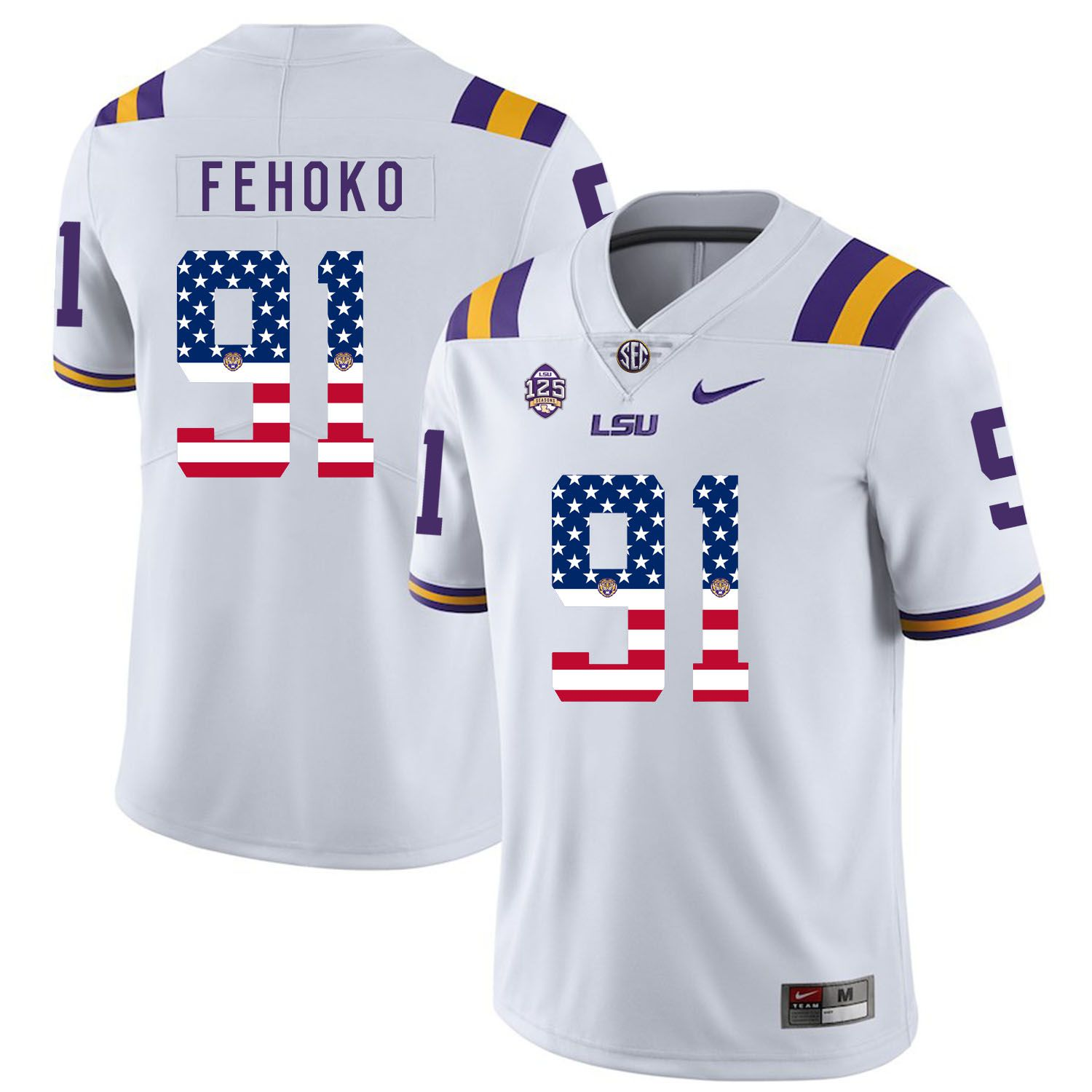 Men LSU Tigers 91 Fehoko White Flag Customized NCAA Jerseys
