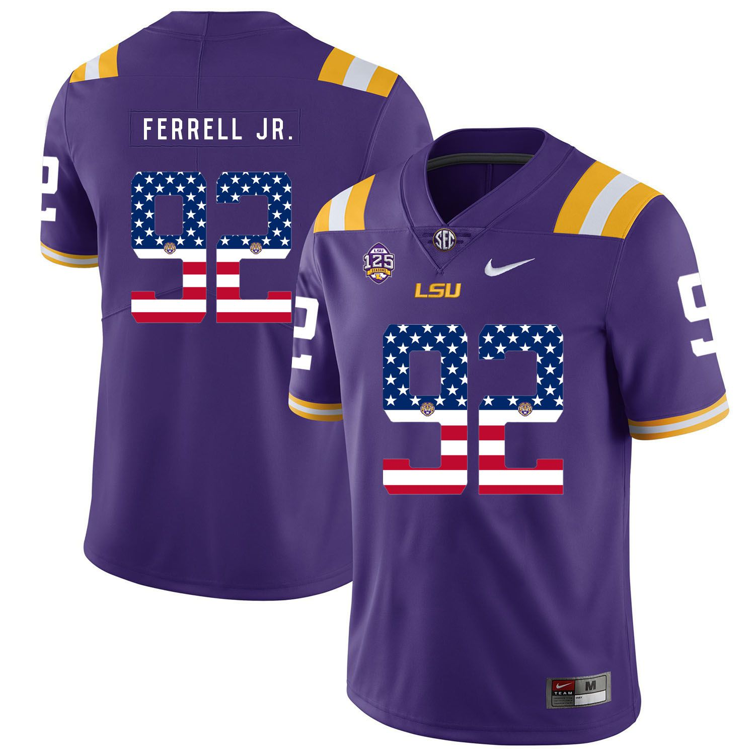 Men LSU Tigers 92 Ferrell jr Purple Flag Customized NCAA Jerseys