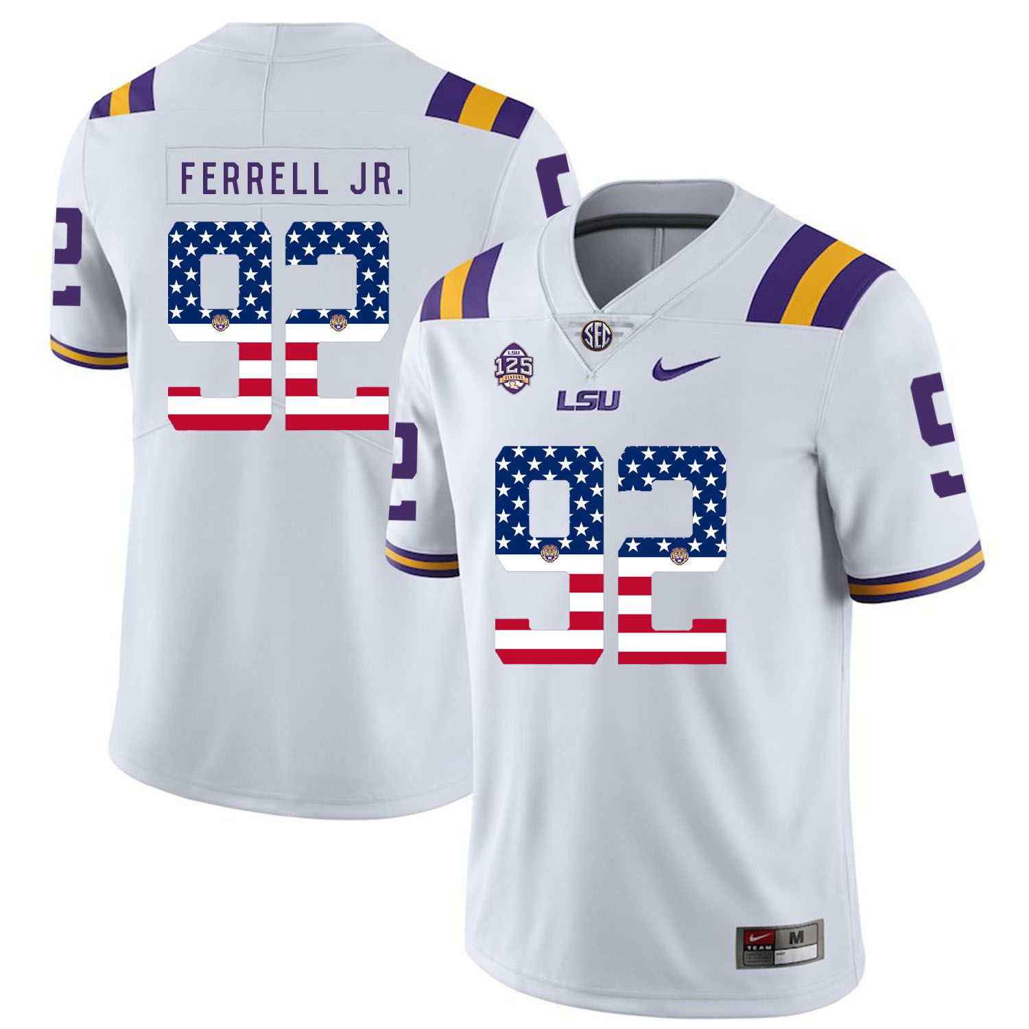 Men LSU Tigers 92 Ferrell jr White Flag Customized NCAA Jerseys