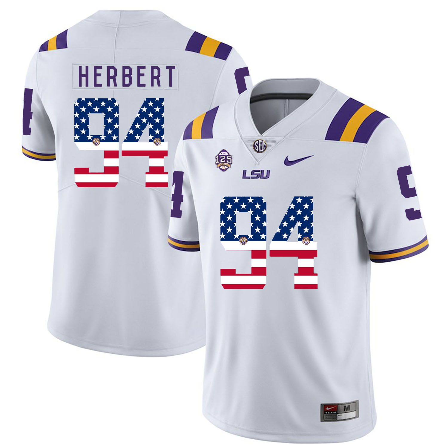 Men LSU Tigers 94 Herbert White Flag Customized NCAA Jerseys