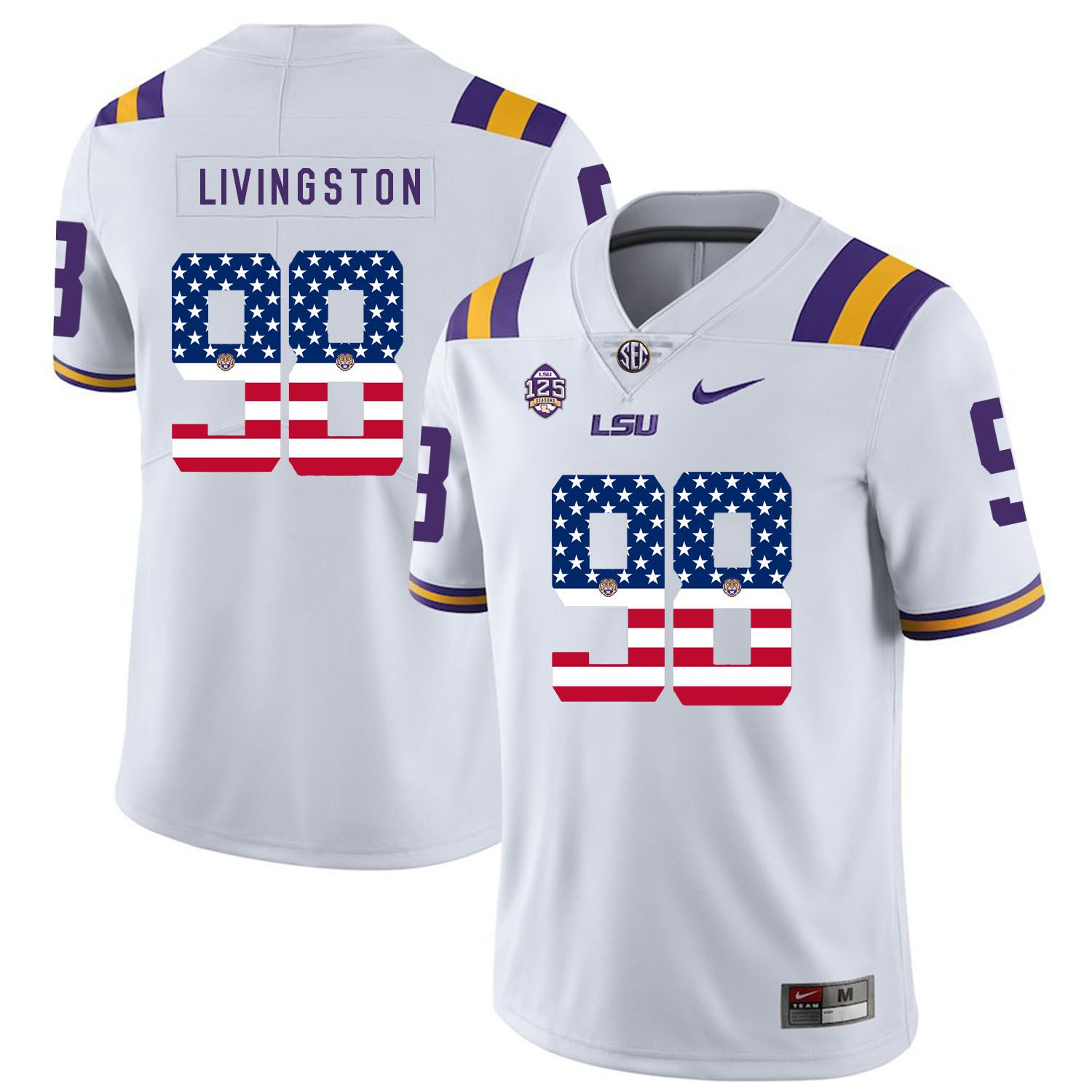 Men LSU Tigers 98 Livingston White Flag Customized NCAA Jerseys