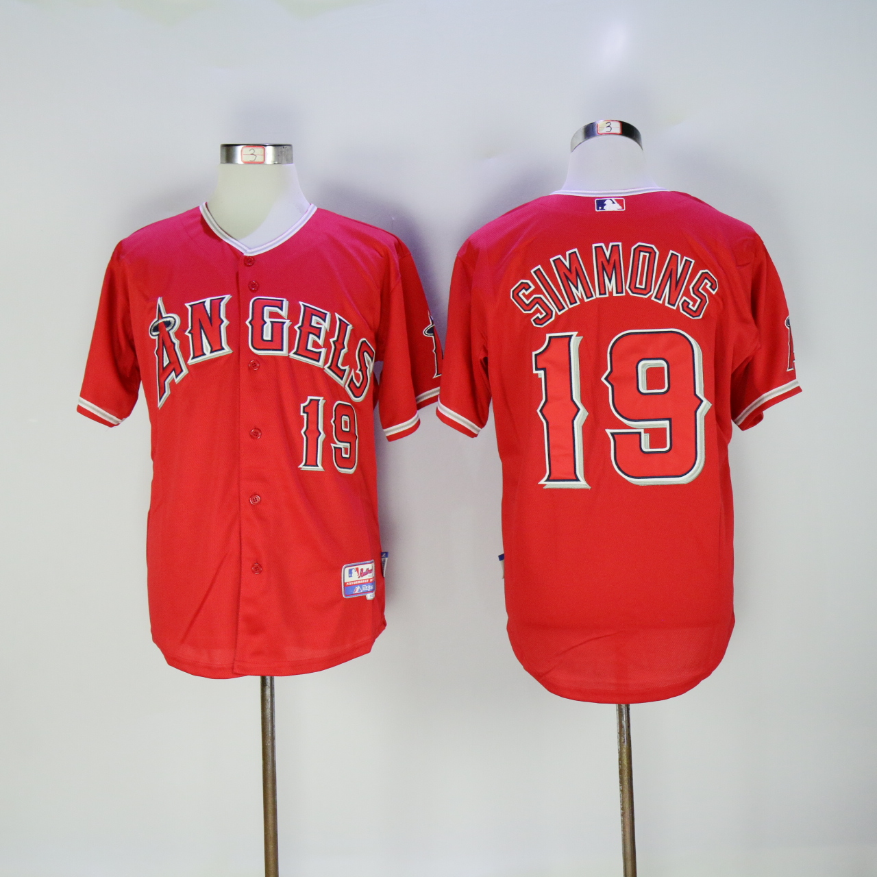 Men Los Angeles Angels 19 Simmons Red MLB Jerseys