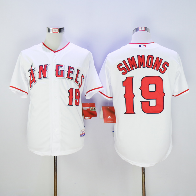 Men Los Angeles Angels 19 Simmons White MLB Jerseys