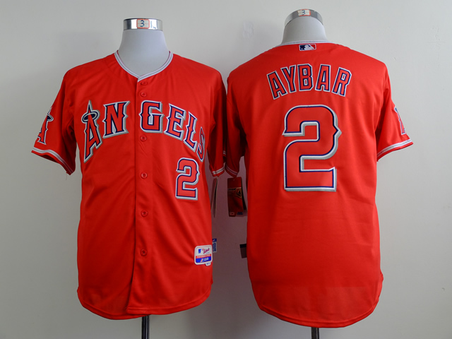 Men Los Angeles Angels 2 Aybar Red MLB Jerseys