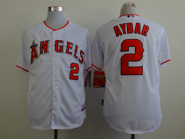 Men Los Angeles Angels 2 Aybar White MLB Jerseys