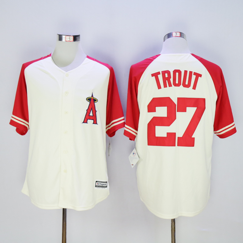 Men Los Angeles Angels 27 Trout Cream MLB Jerseys