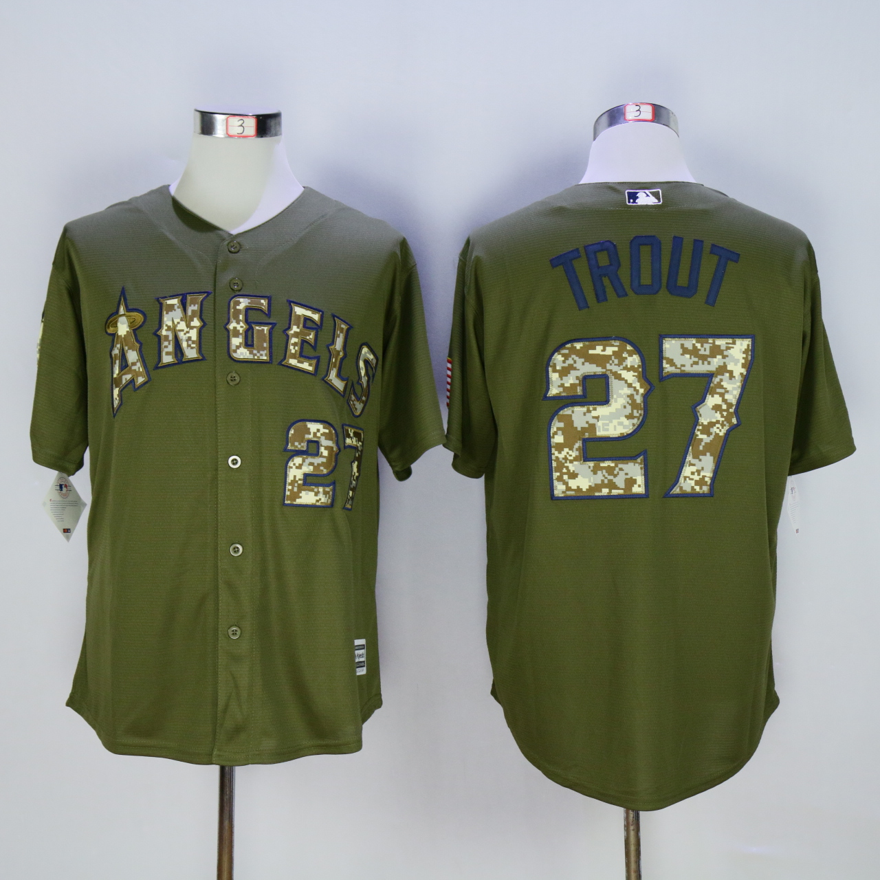 Men Los Angeles Angels 27 Trout Green MLB Jerseys